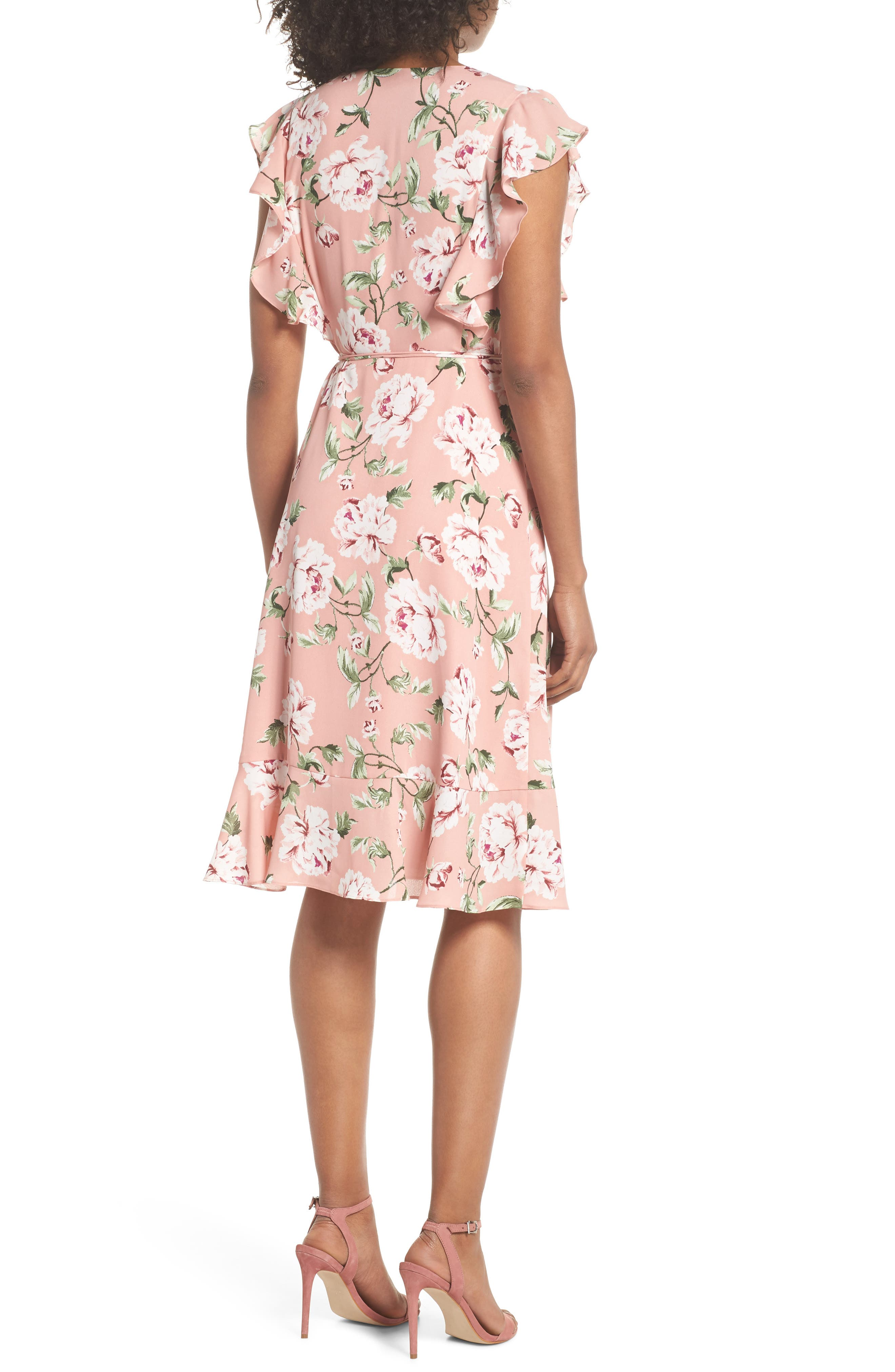 CHARLES HENRY, Ruffle Sleeve Floral Wrap Dress, Alternate thumbnail 2, color, 652