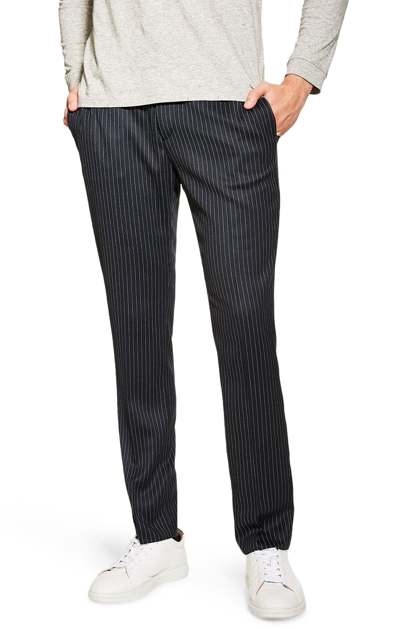 TOPMAN, Tailored Pinstripe Trousers, Main thumbnail 1, color, NAVY BLUE