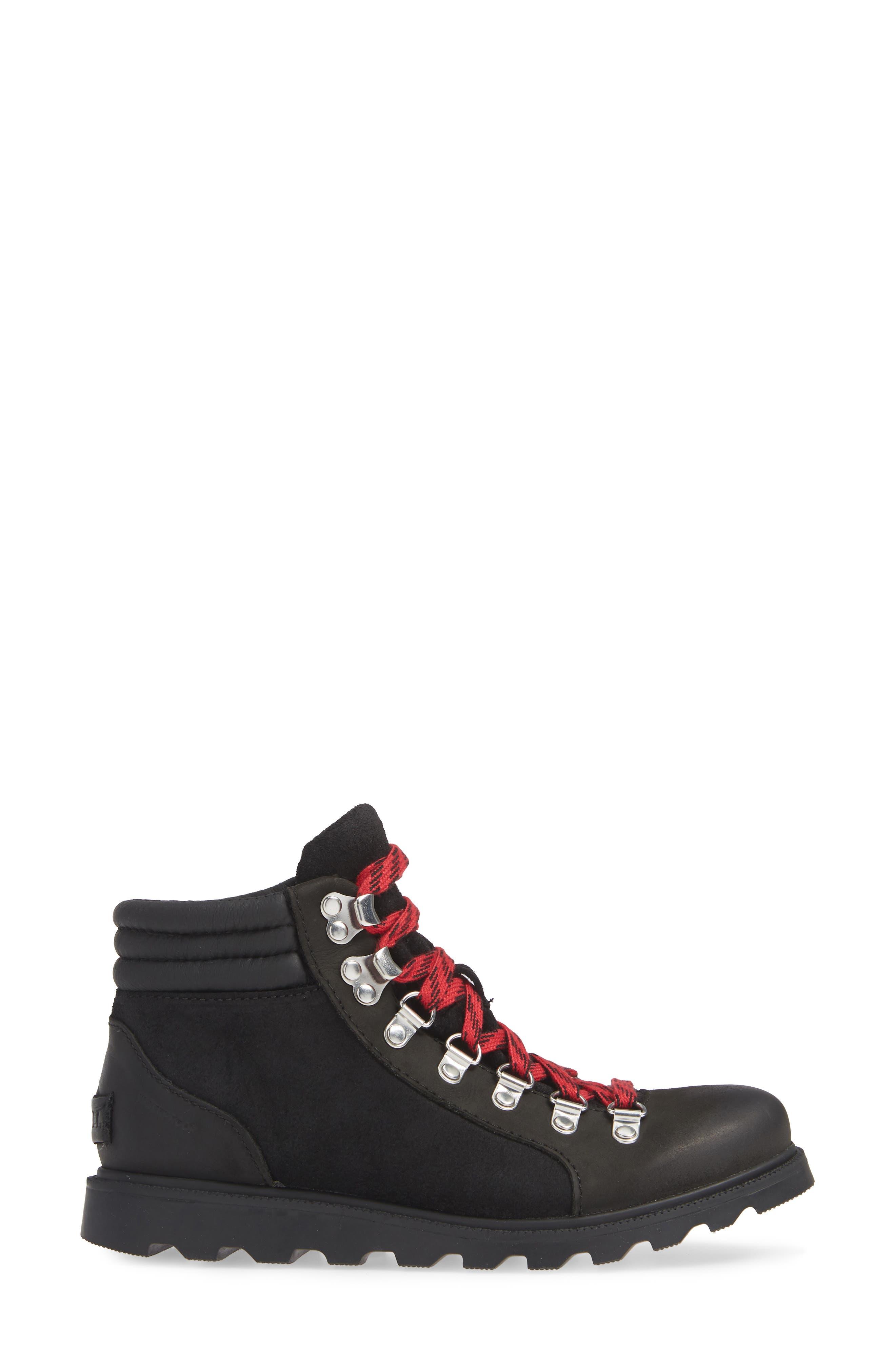 SOREL, Ainsley Conquest Waterproof Boot, Alternate thumbnail 3, color, BLACK/ BLACK