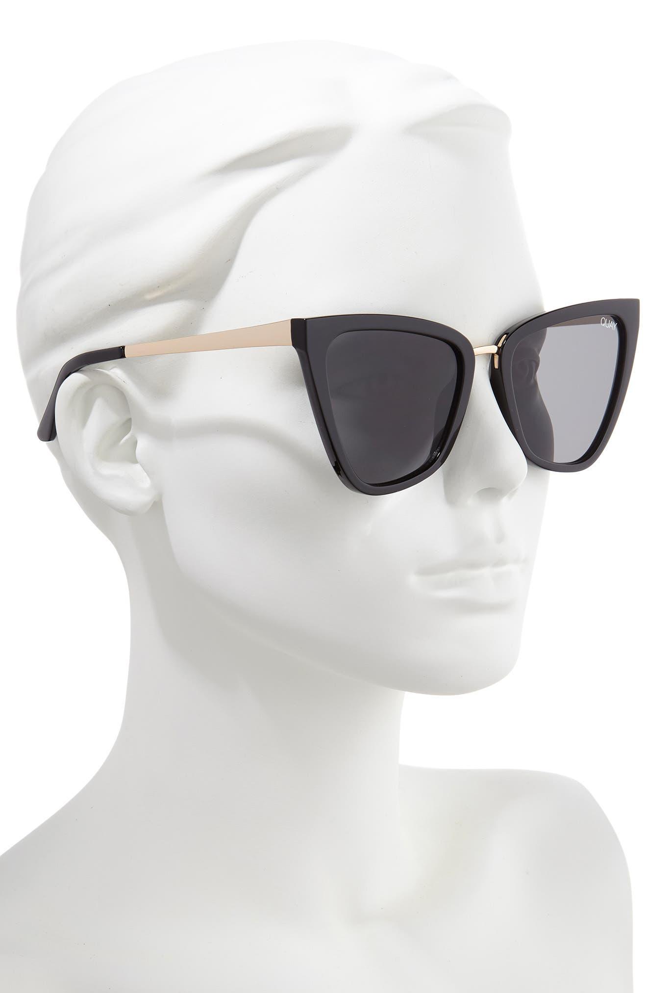 QUAY AUSTRALIA, x JLO Reina 51mm Cat Eye Sunglasses, Alternate thumbnail 2, color, BLACK / SMOKE