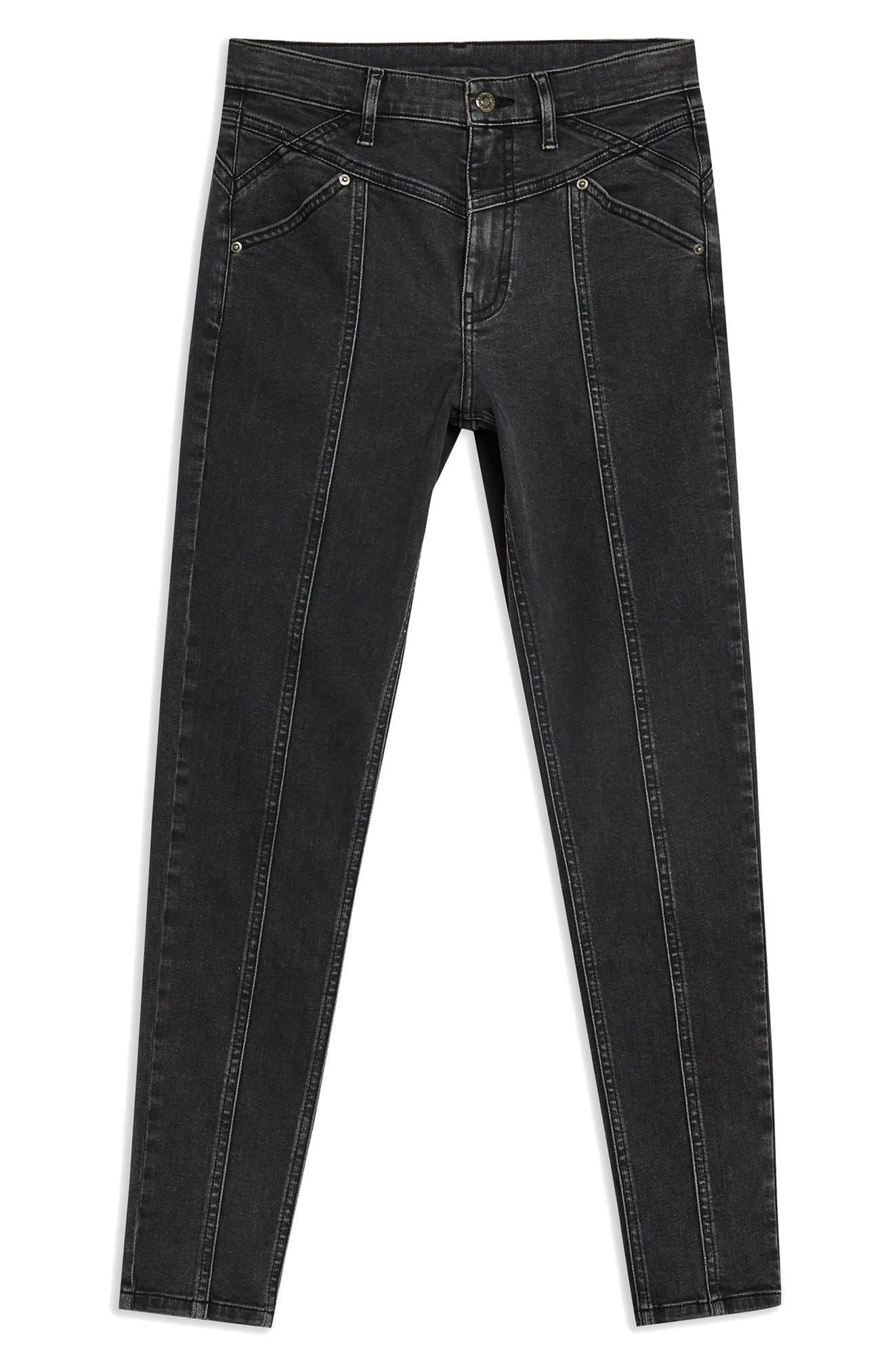 TOPSHOP, Jamie Panel High Waist Skinny Jeans, Alternate thumbnail 5, color, WASHED BLACK