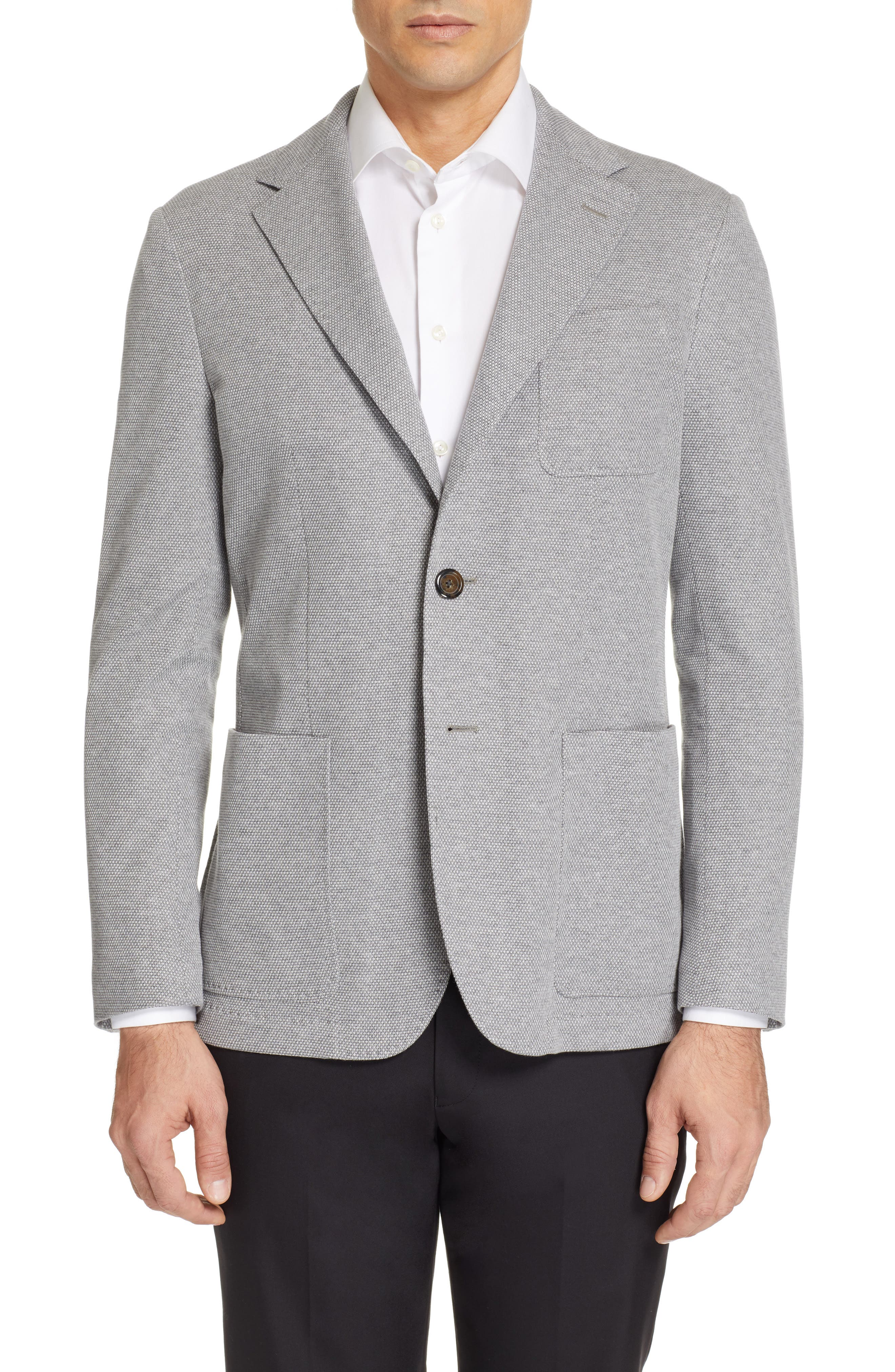 CANALI, Classic Fit Washed Sport Coat, Main thumbnail 1, color, LIGHT GREY