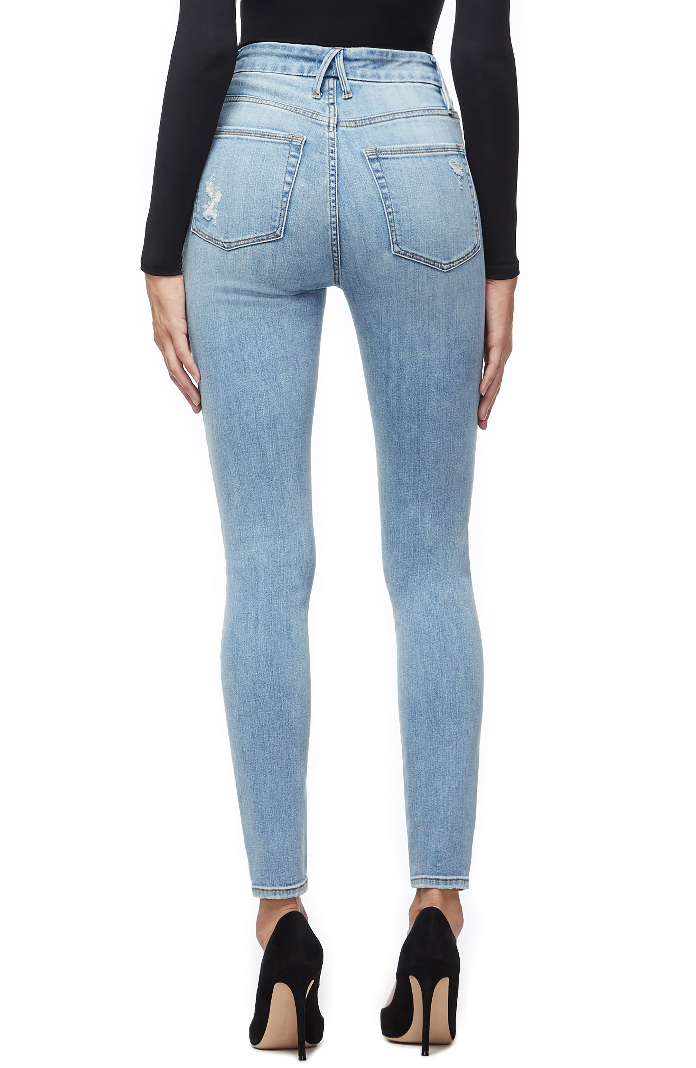 GOOD AMERICAN, Good Legs Ripped High Waist Skinny Jeans, Alternate thumbnail 4, color, BLUE221