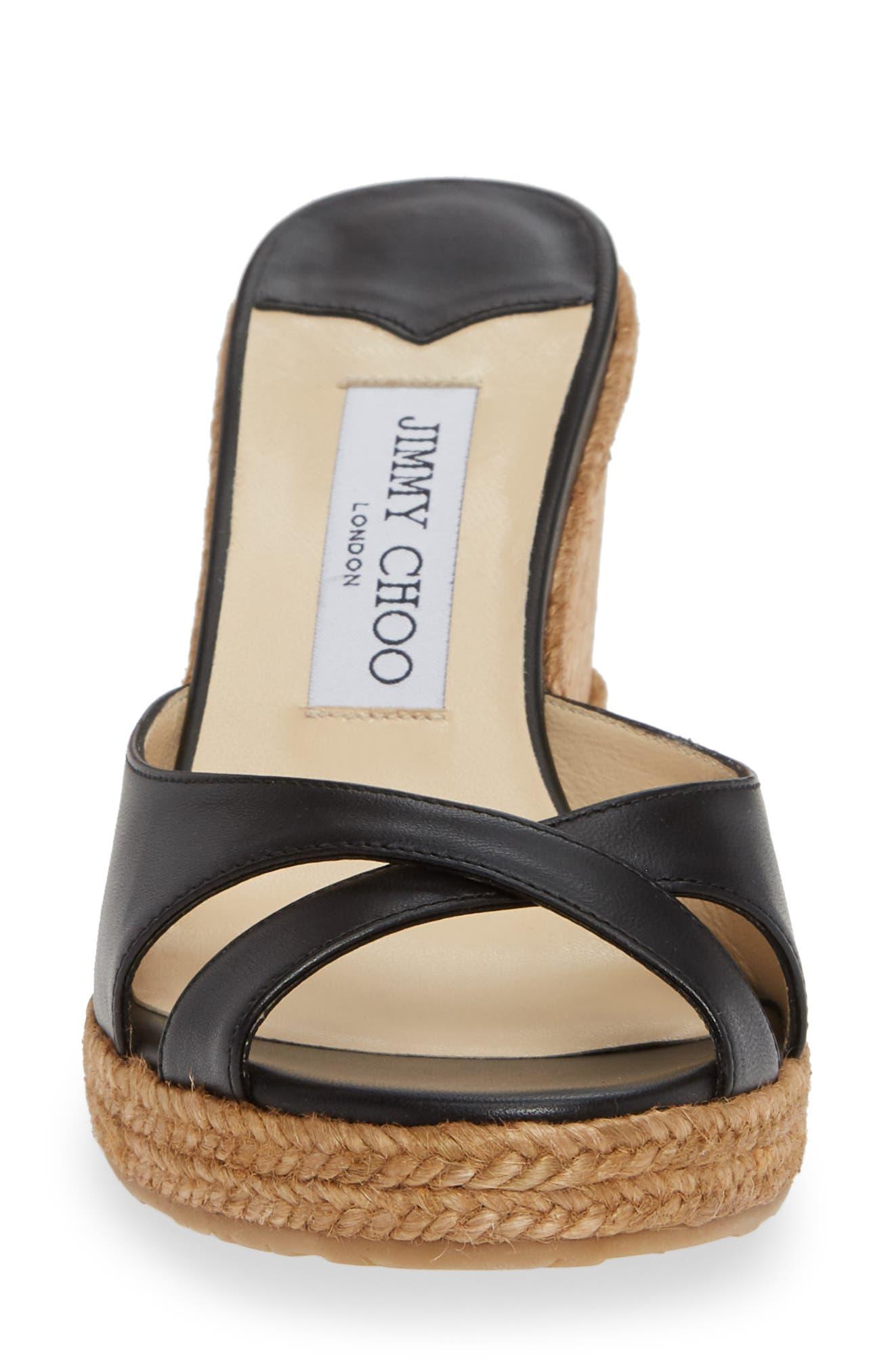 JIMMY CHOO, Almer Cork Wedge Sandal, Alternate thumbnail 4, color, BLACK