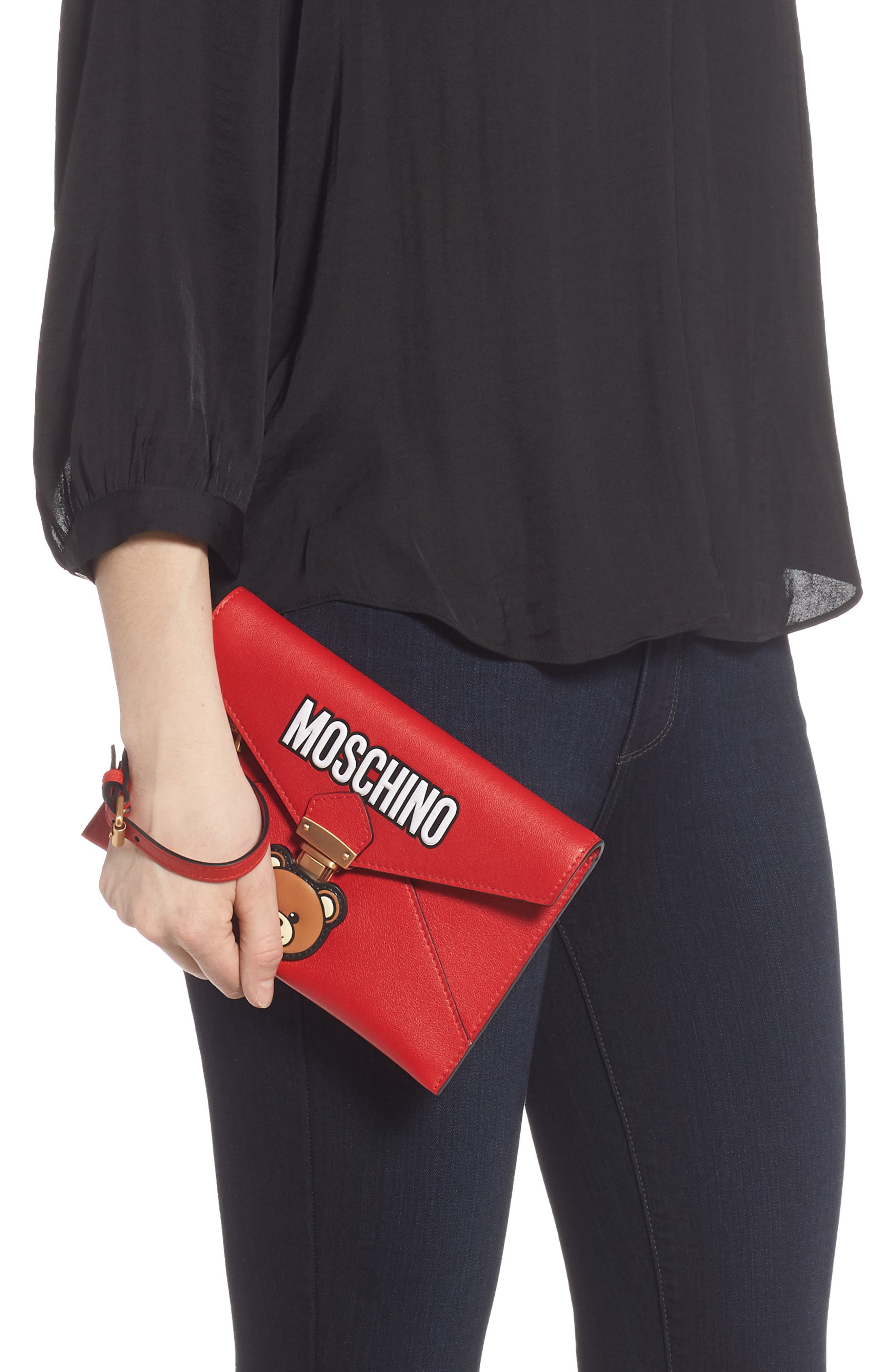 MOSCHINO, Bear Faux Leather Wristlet, Alternate thumbnail 2, color, RED