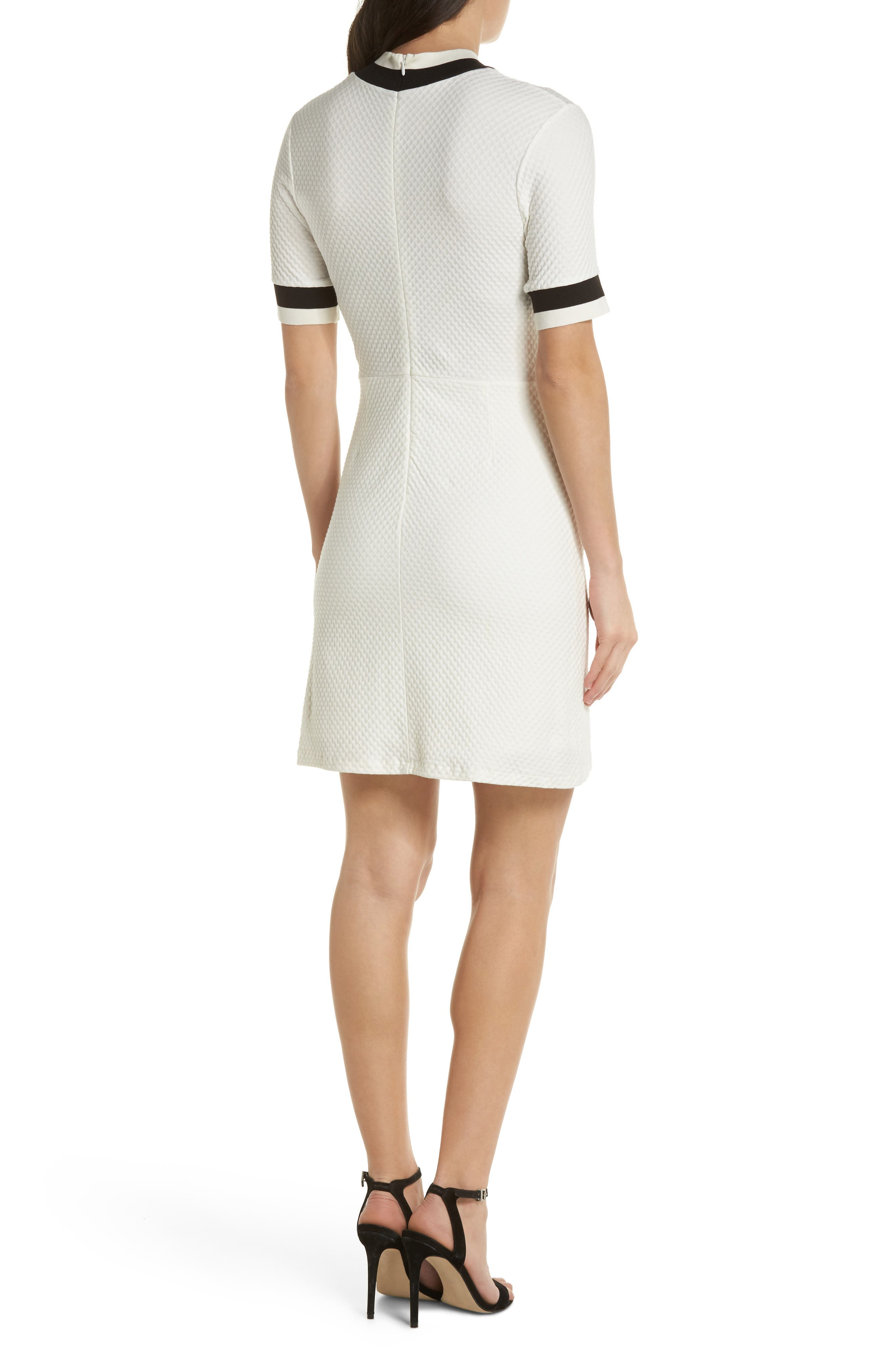 FRENCH CONNECTION, Savos Sudan Jersey Dress, Alternate thumbnail 2, color, BLACK/ SUMMER WHITE