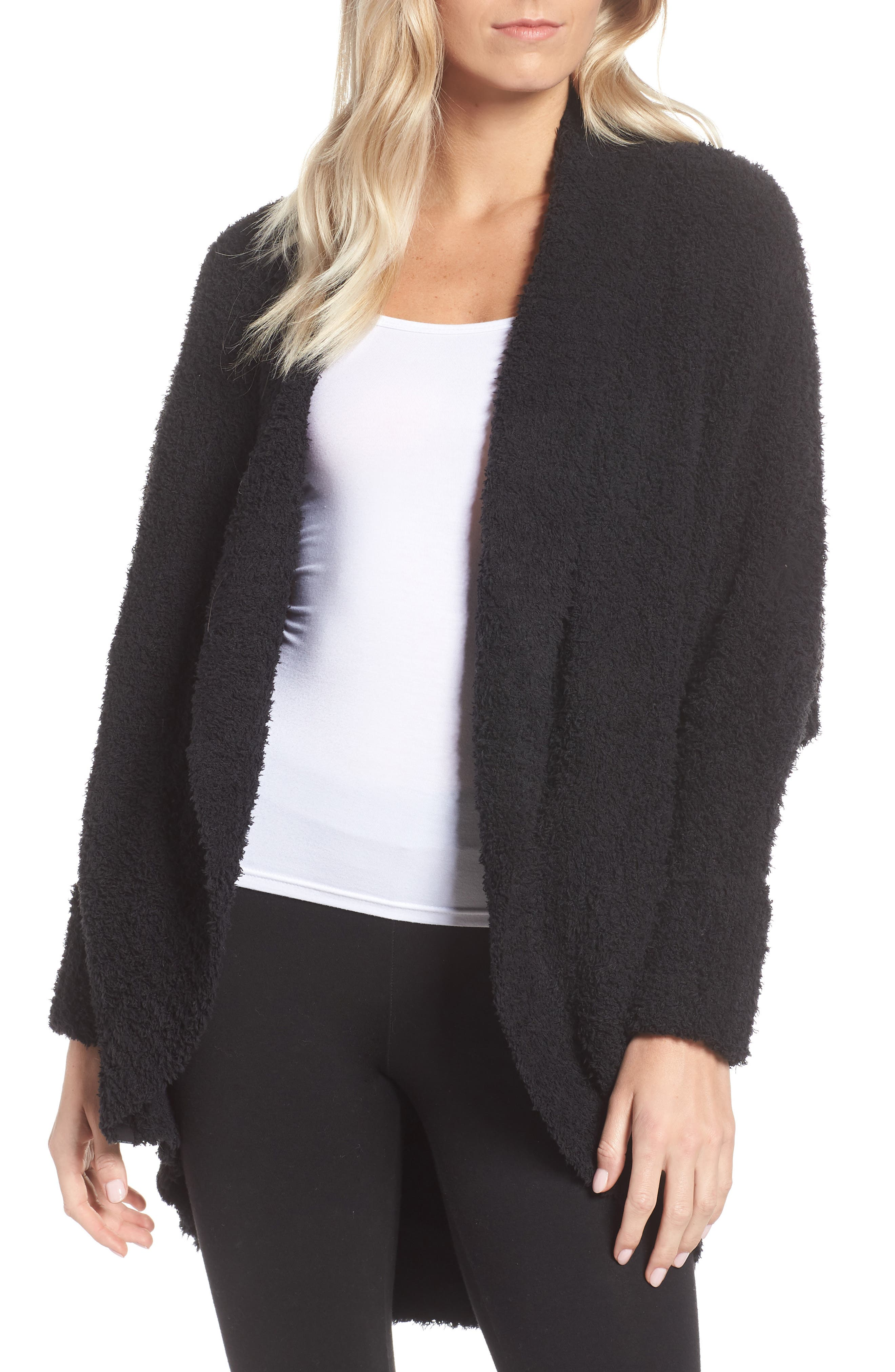 BAREFOOT DREAMS<SUP>®</SUP>, CozyChic<sup>®</sup> Cocoon Cardigan, Main thumbnail 1, color, BLACK