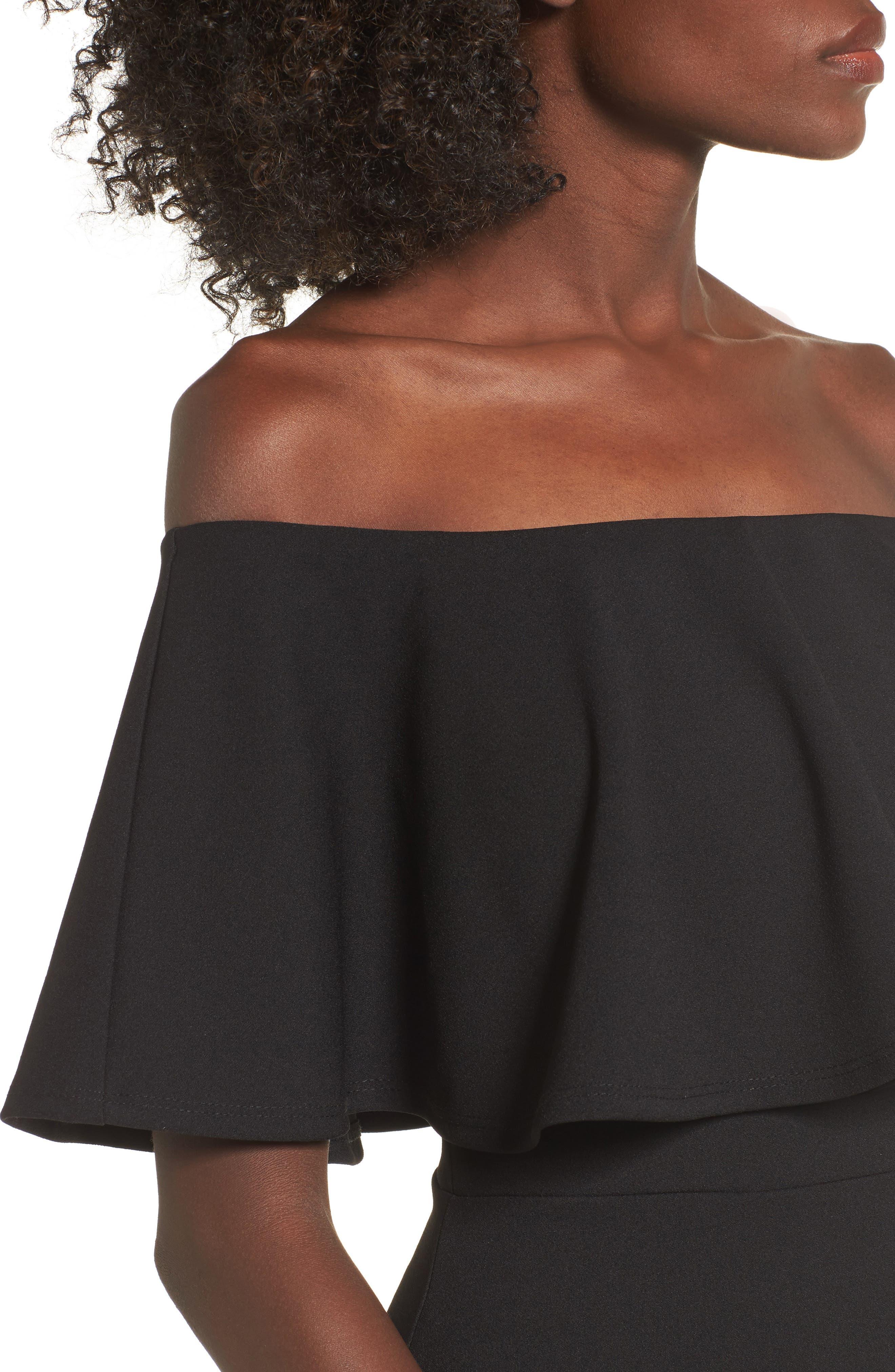 SOPRANO, Ruffle Off the Shoulder Body-Con Dress, Alternate thumbnail 5, color, 001