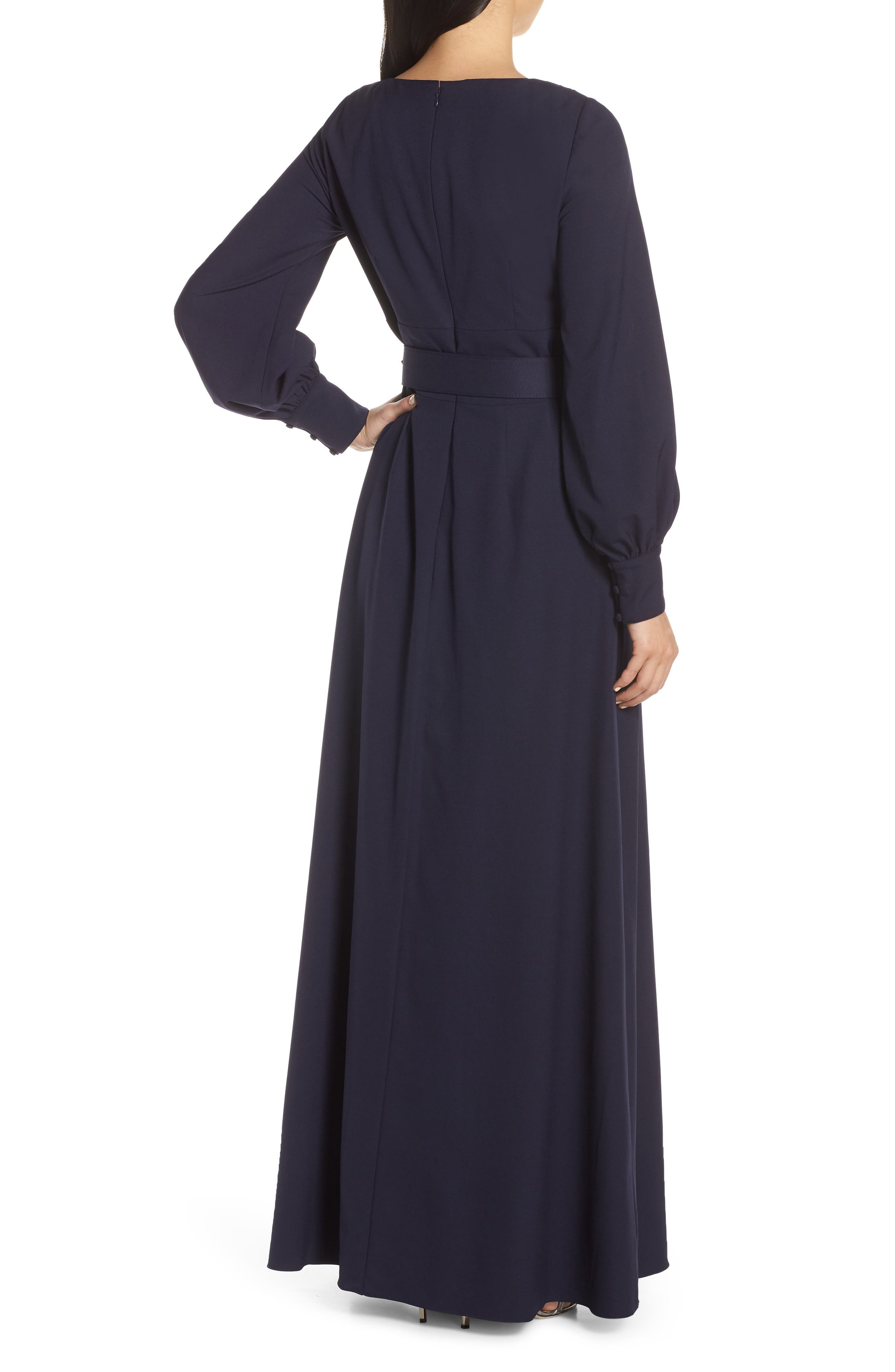 ELIZA J, Long Sleeve Belted Gown, Alternate thumbnail 2, color, NAVY
