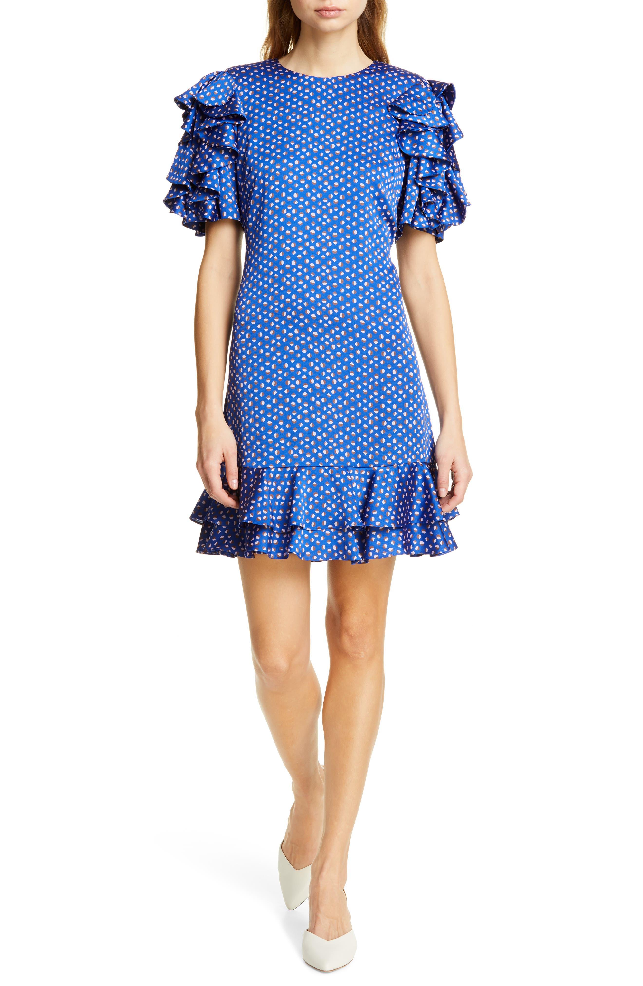 Kate Spade New York Geo Dot Satin Shift Dress, Blue