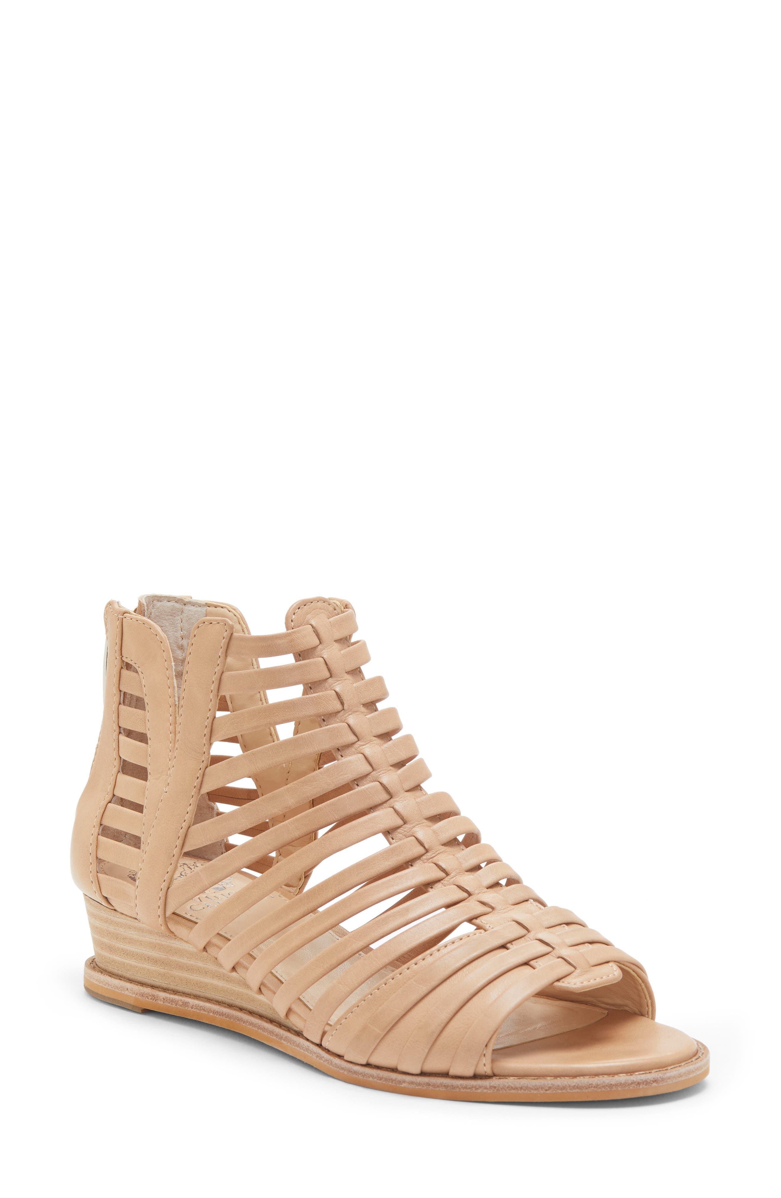 VINCE CAMUTO, Revey Wedge Sandal, Main thumbnail 1, color, NATURAL LEATHER