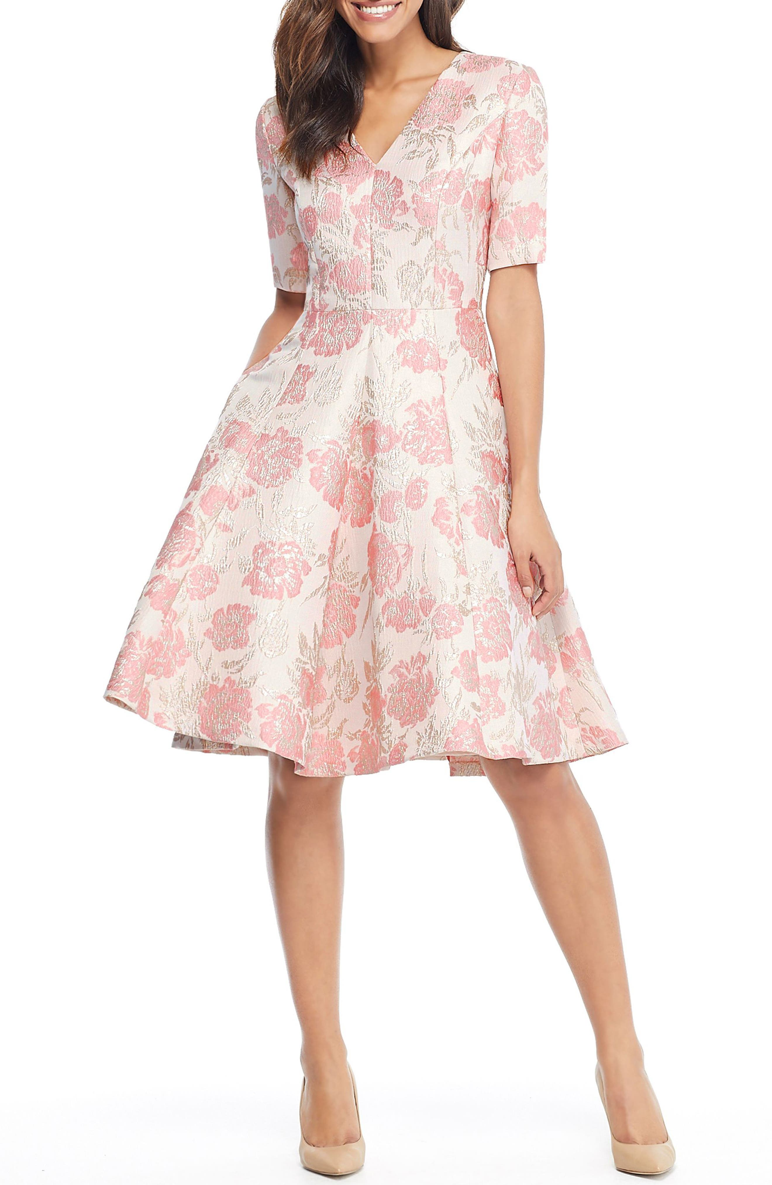 GAL MEETS GLAM COLLECTION Adair Pink Passion Rose Jacquard Fit & Flare Dress, Main, color, 685