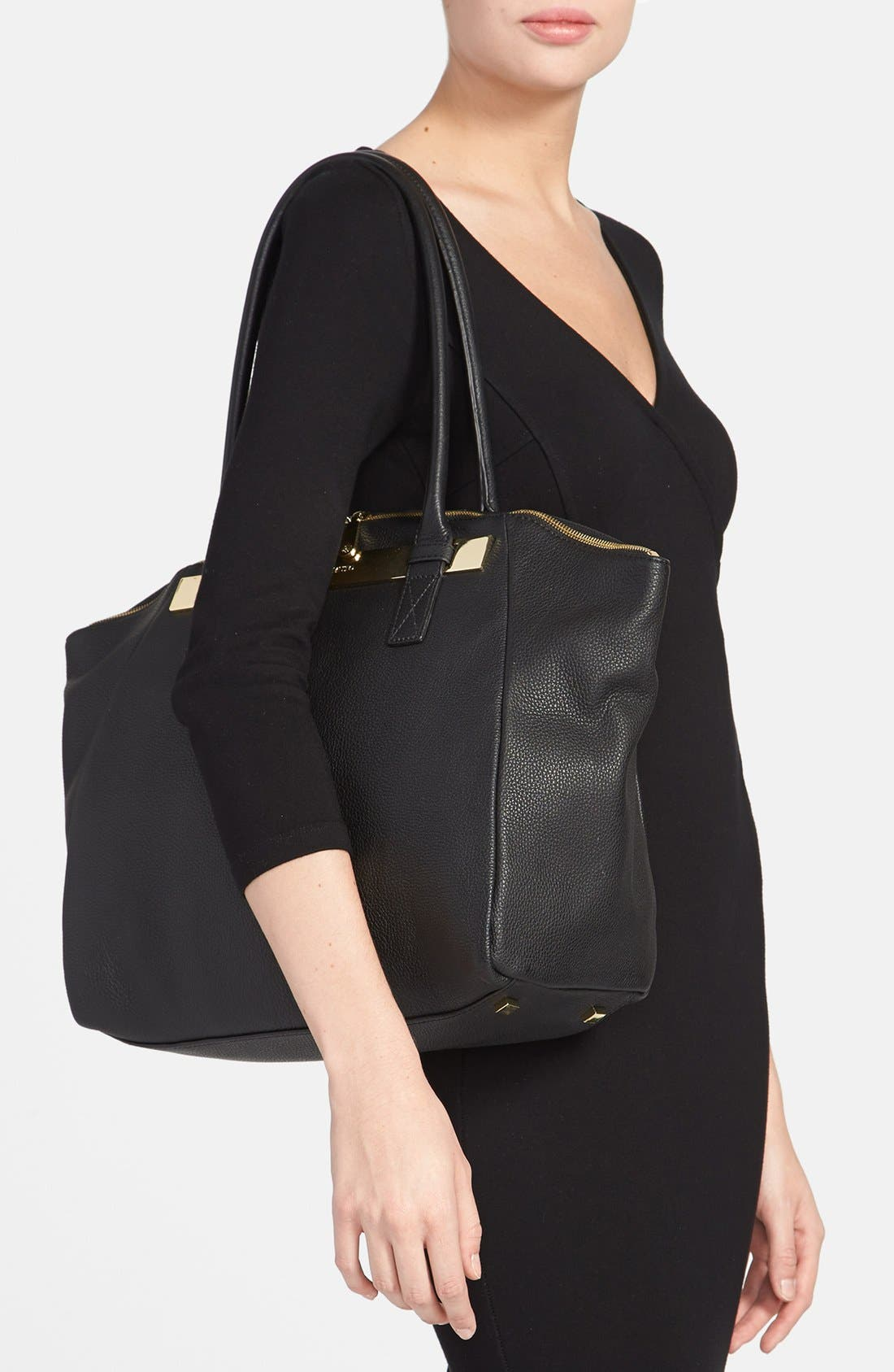 VINCE CAMUTO, 'Jace' Leather Tote, Alternate thumbnail 2, color, 002