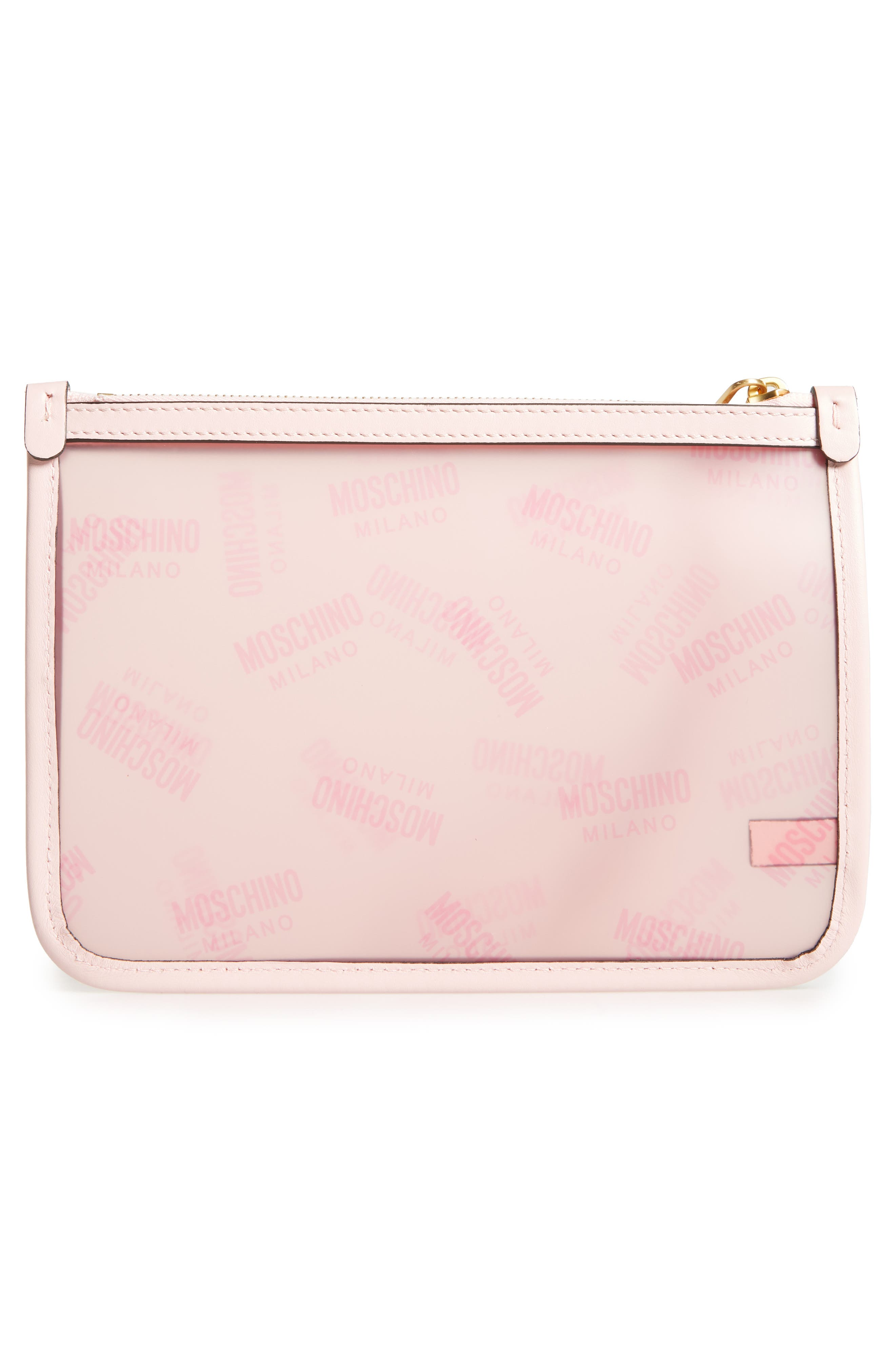 MOSCHINO, Transparent Logo Pouch, Alternate thumbnail 3, color, 683
