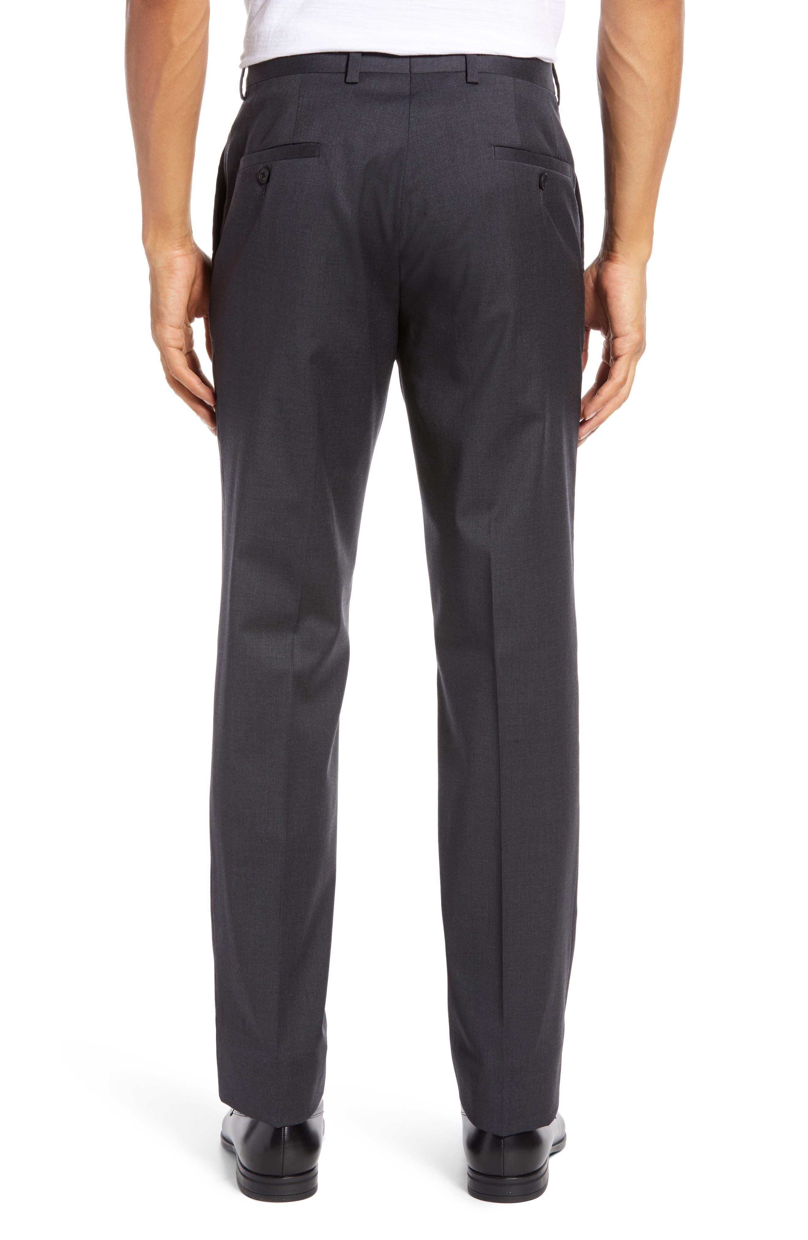 NORDSTROM MEN'S SHOP, Trim Fit Stretch Wool Trousers, Alternate thumbnail 2, color, CHARCOAL