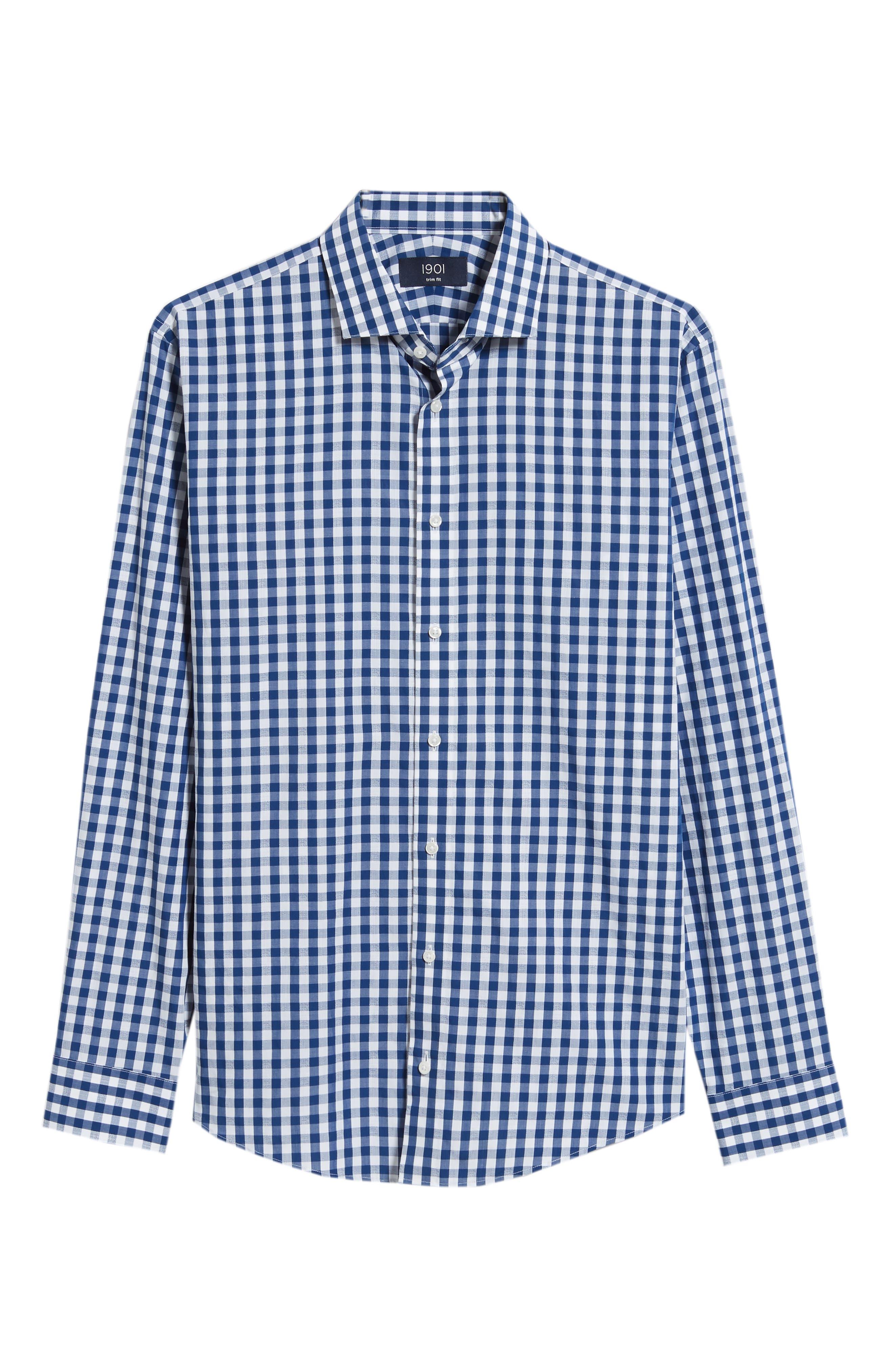 1901, Trim Fit Check Dress Shirt, Alternate thumbnail 5, color, BLUE CASPIA