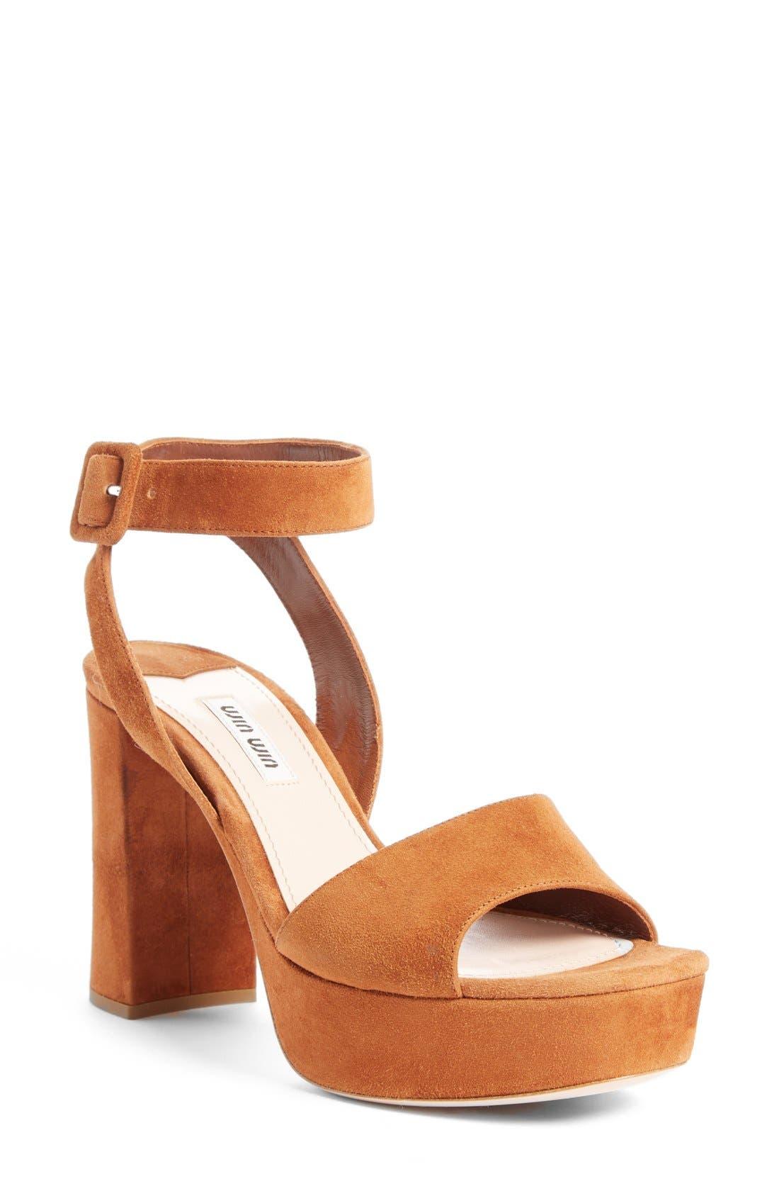 MIU MIU 'Sandali' Ankle Strap Sandal, Main, color, 200