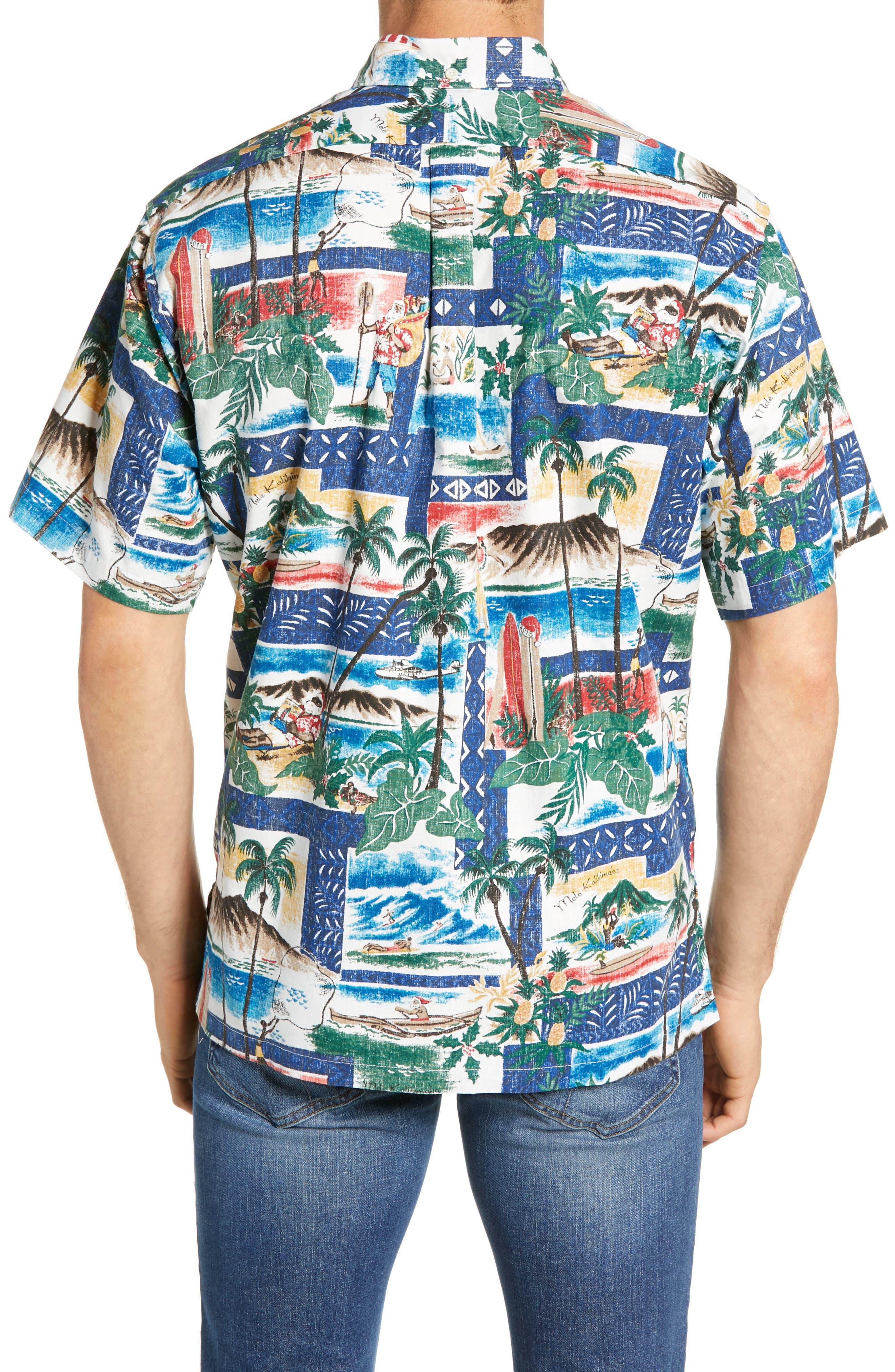 REYN SPOONER, Hawaiian Christmas 2018 Classic Fit Sport Shirt, Alternate thumbnail 3, color, 420