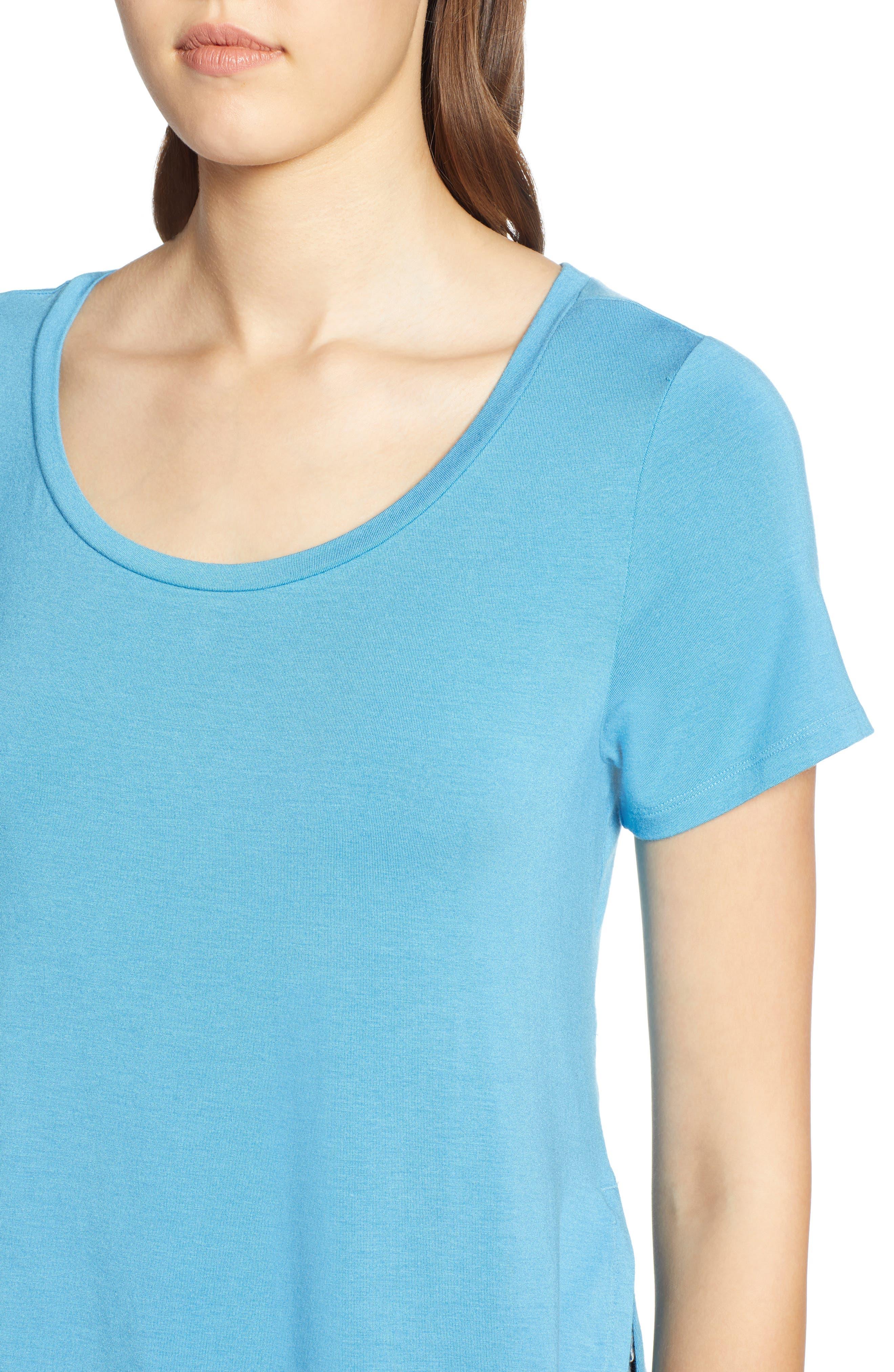 HALOGEN<SUP>®</SUP>, Short Sleeve Shirttail Tee, Alternate thumbnail 4, color, BLUE CENDRE