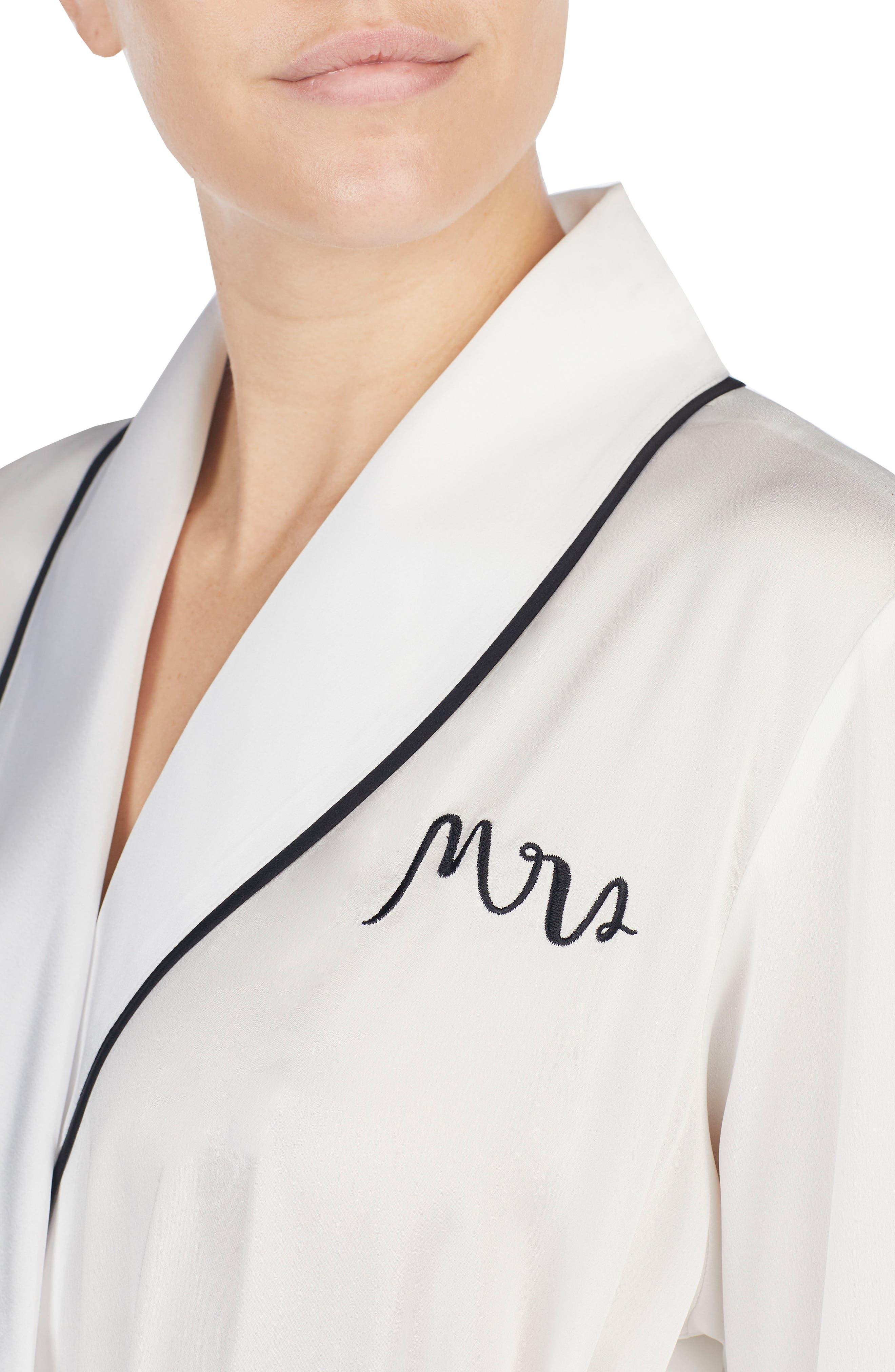 KATE SPADE NEW YORK, mrs charmeuse short robe, Alternate thumbnail 4, color, OFF WHITE
