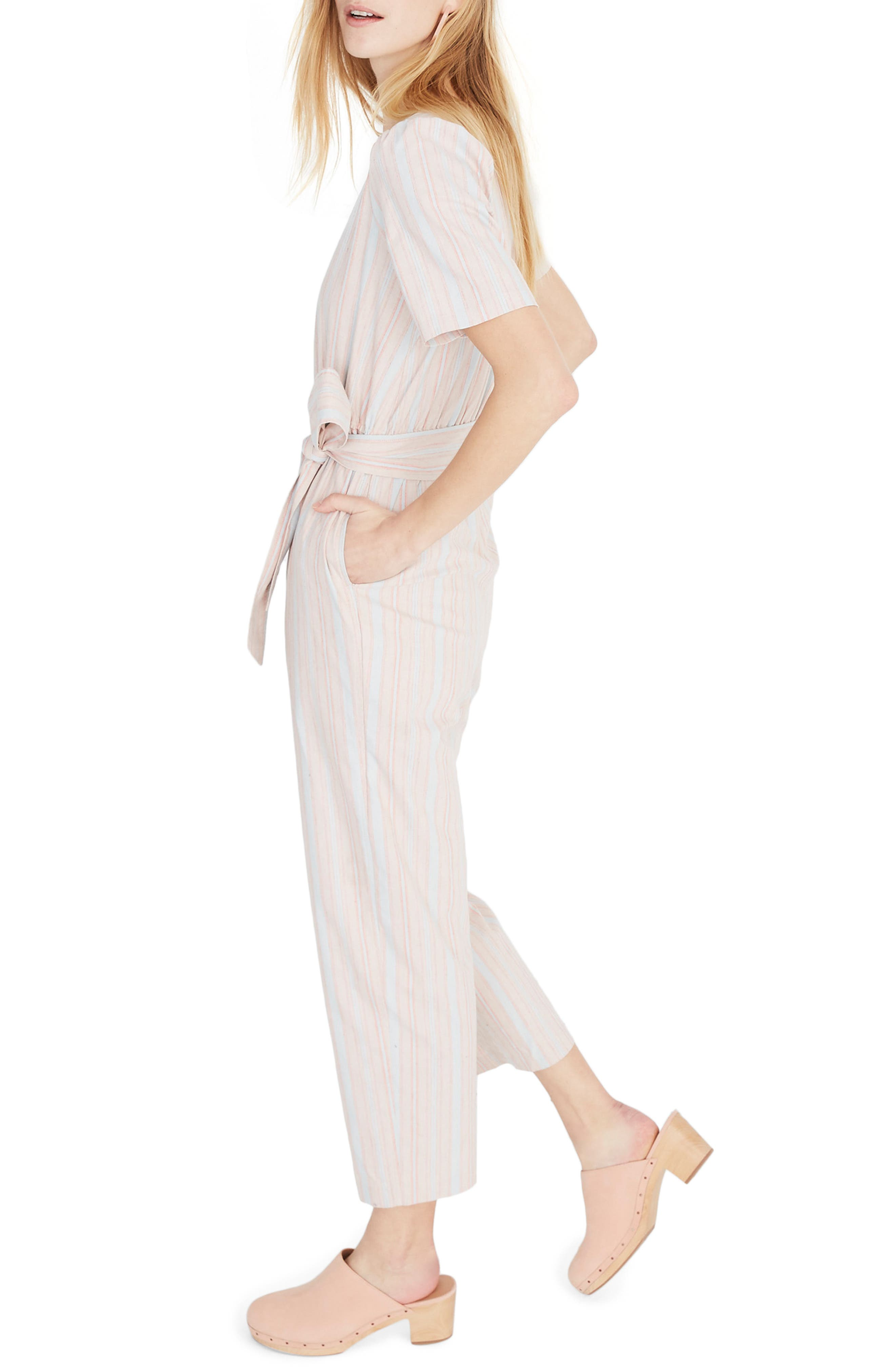 MADEWELL, Puff Sleeve Tapered Jumpsuit, Alternate thumbnail 4, color, 400