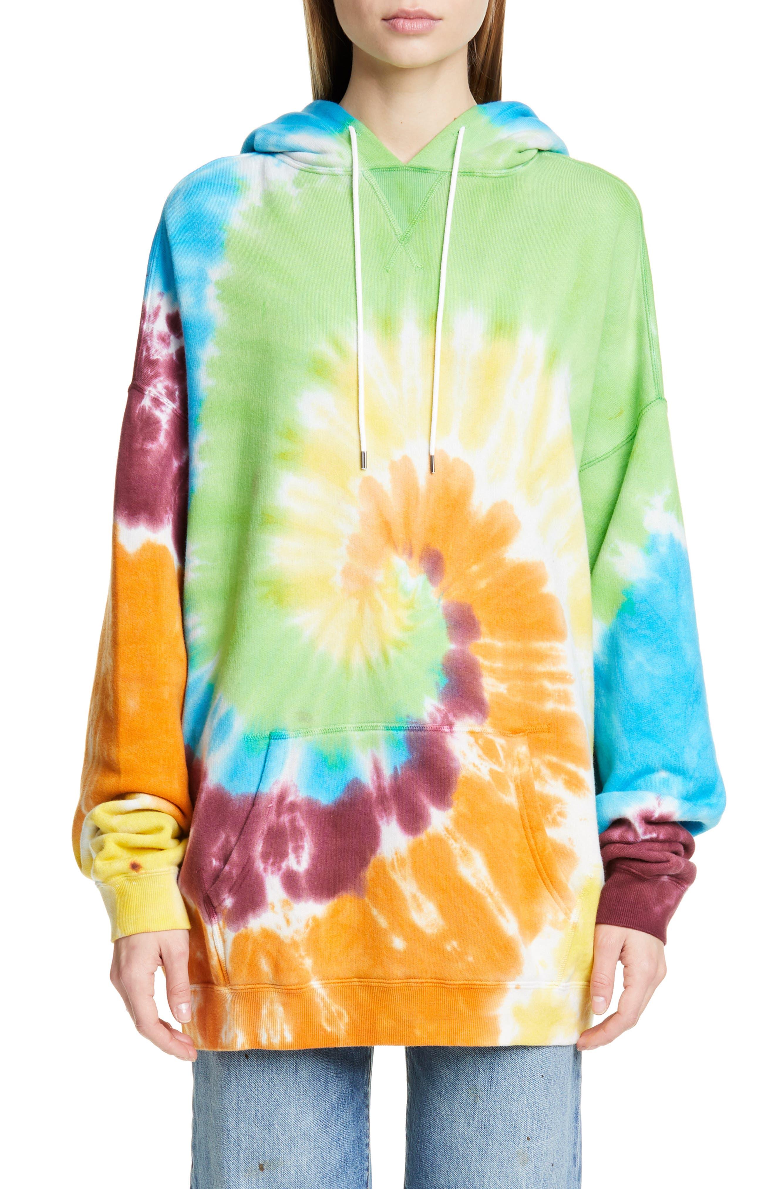 R13, Tie Dye Rainbow Hoodie, Main thumbnail 1, color, TIE DYE