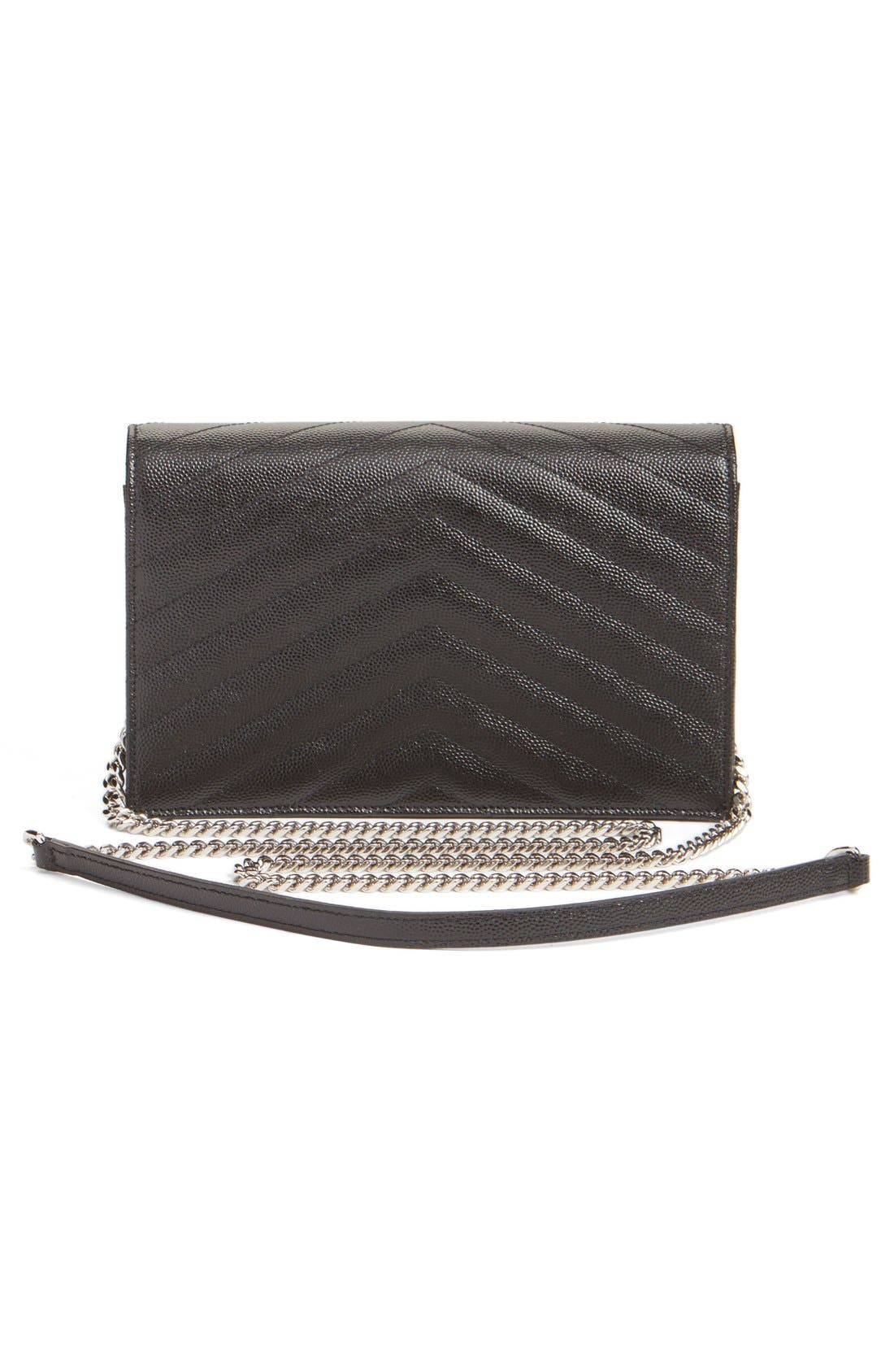 SAINT LAURENT, Quilted Calfskin Leather Wallet on a Chain, Alternate thumbnail 9, color, NOIR