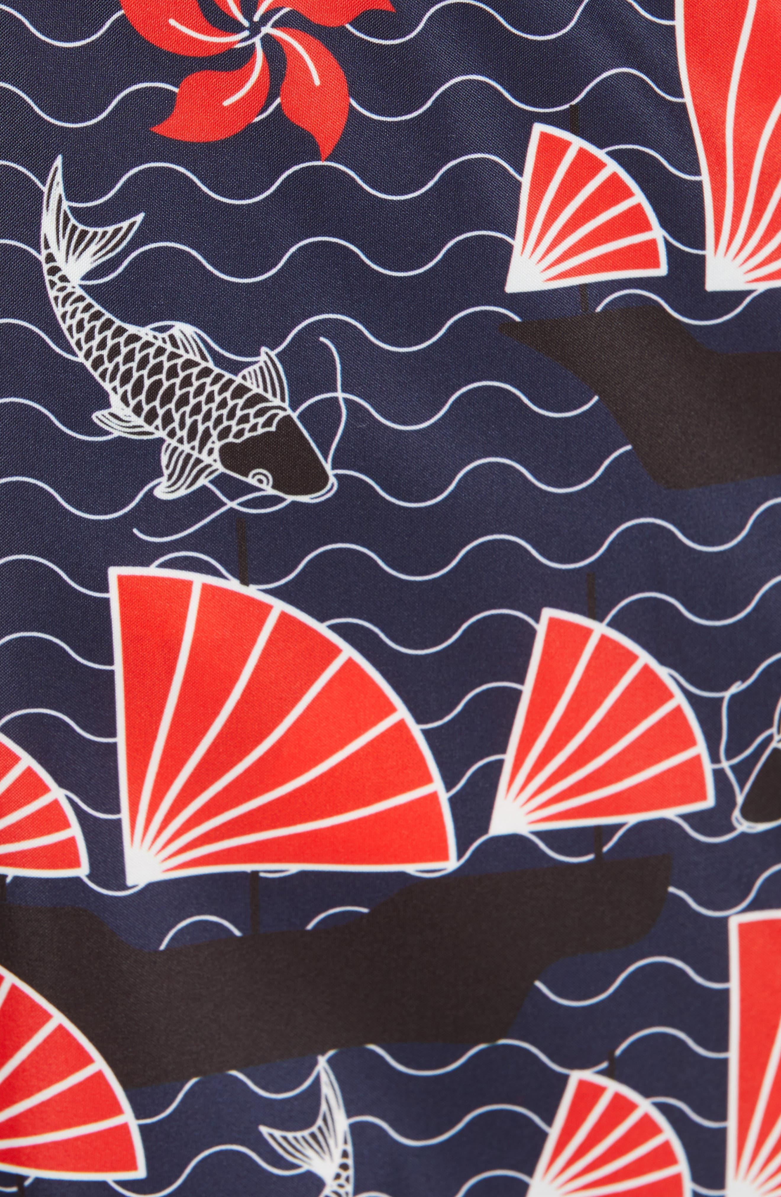 VILEBREQUIN, Print Swim Trunks, Alternate thumbnail 5, color, BLUE