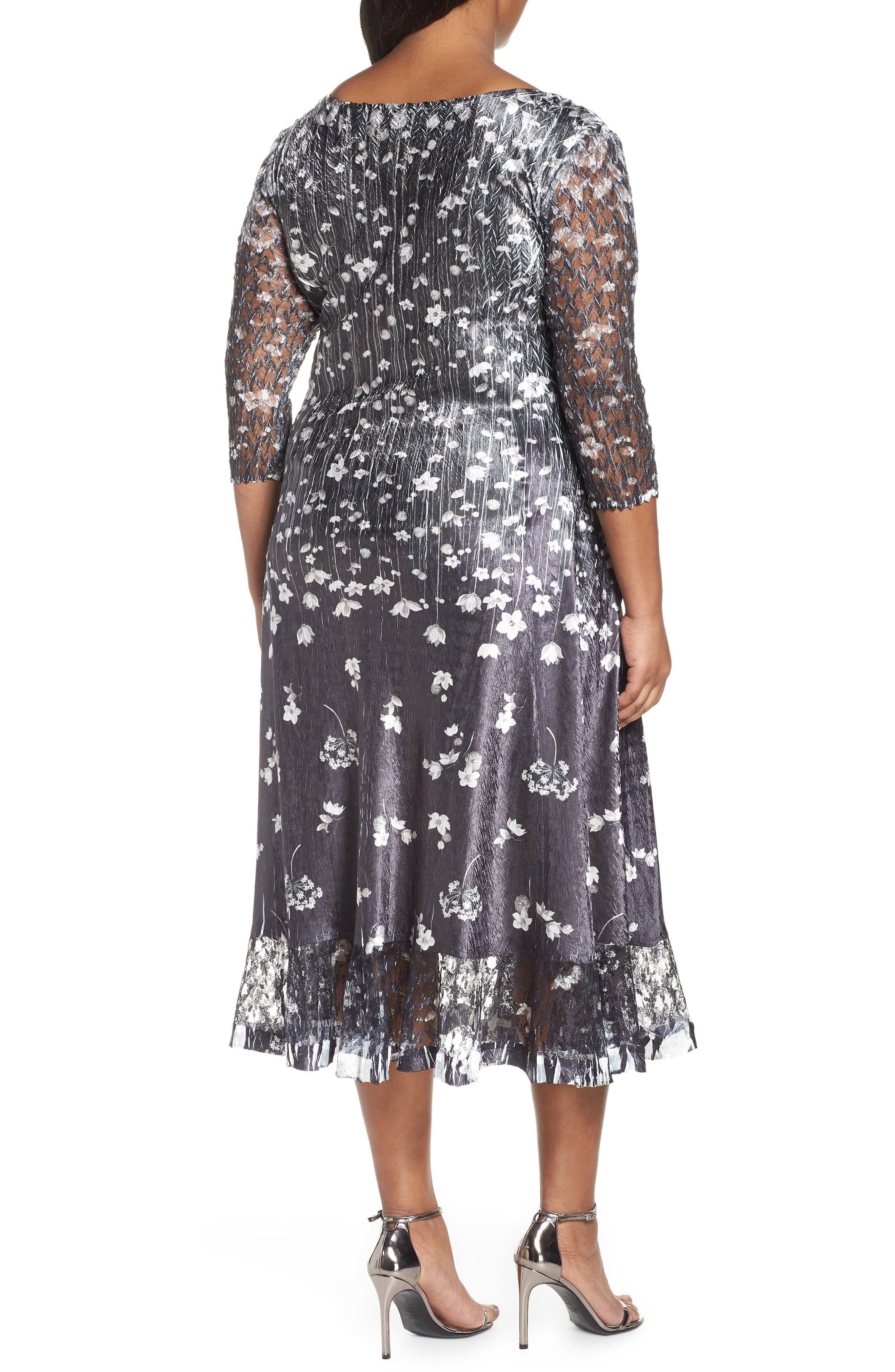 KOMAROV, Floral Print A-Line Dress, Alternate thumbnail 2, color, BLACK MEADOW