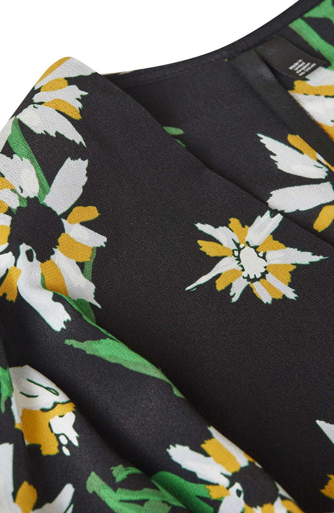 TOPSHOP BOUTIQUE, Daisy Print Silk Kimono Dress, Alternate thumbnail 5, color, 001