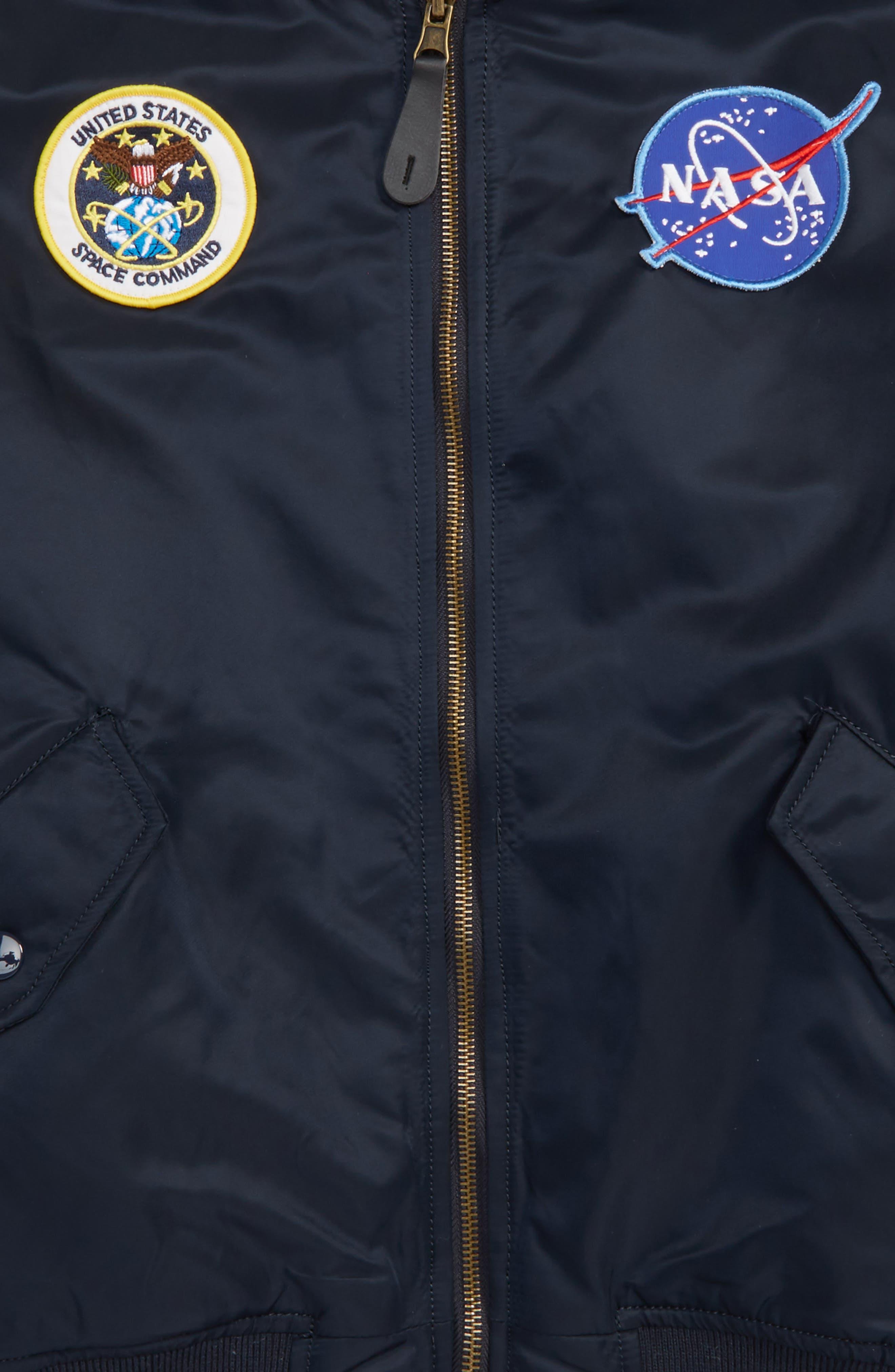 ALPHA INDUSTRIES, MA-1 Nasa Flight Reversible Jacket, Alternate thumbnail 2, color, REPLICA BLUE