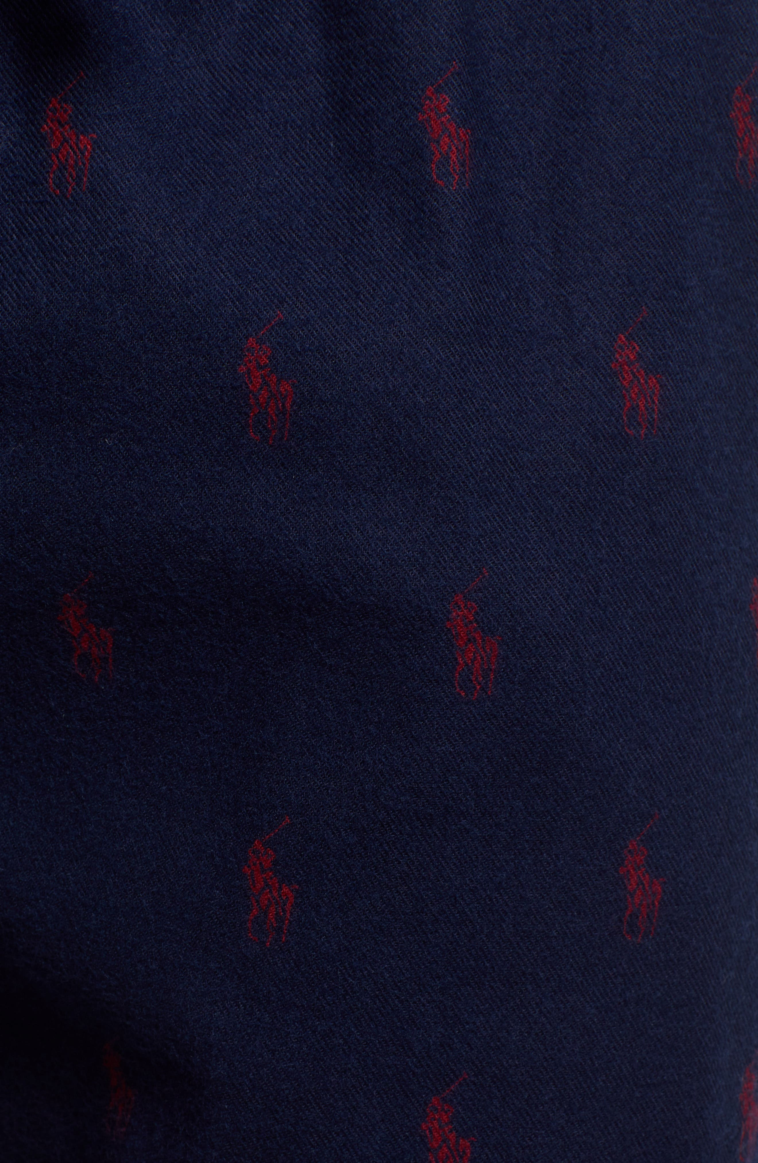 POLO RALPH LAUREN, Flannel Cotton Jogger Pants, Alternate thumbnail 5, color, CRUISE NAVY/ HOLIDAY RED