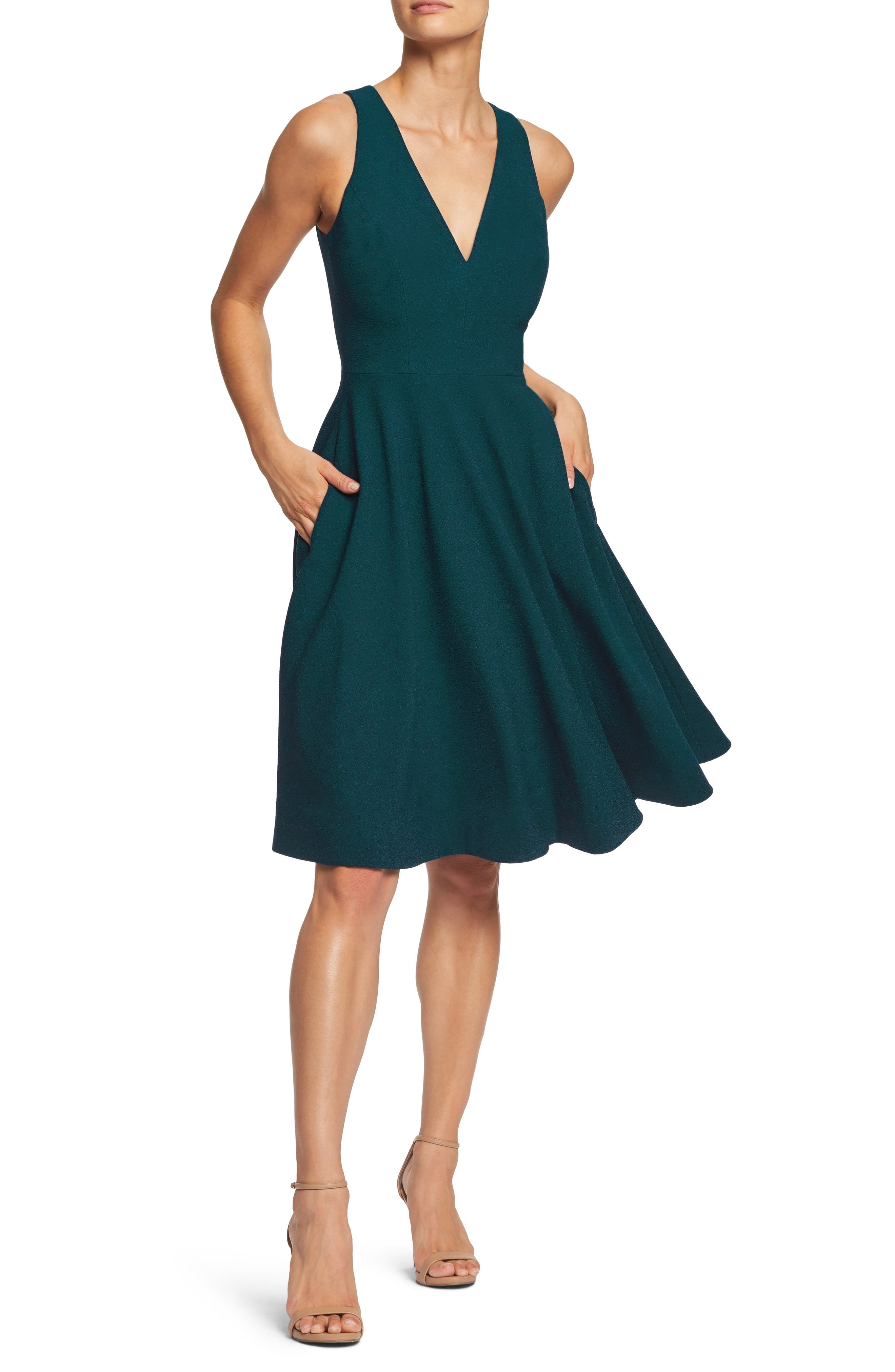 Dress The Population Catalina Tea Length Fit & Flare Dress, Green