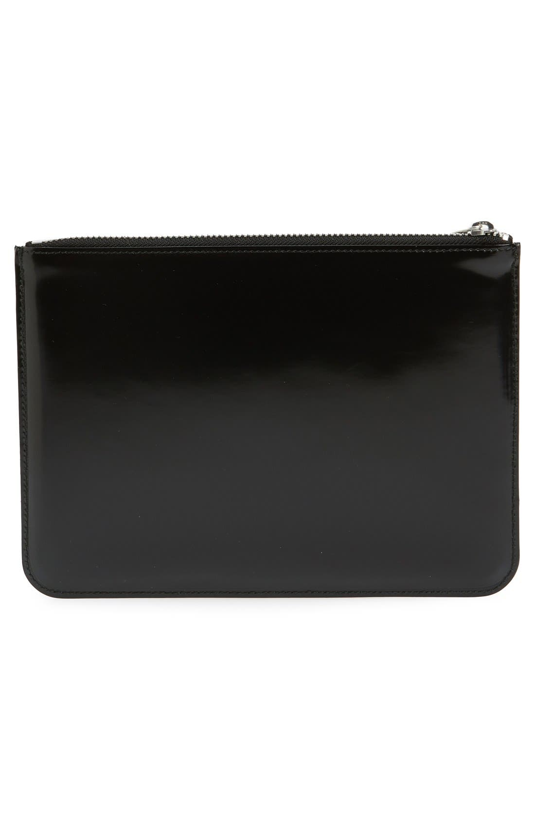 COMME DES GARÇONS, Large Top Zip Leather Pouch, Alternate thumbnail 3, color, SILVER