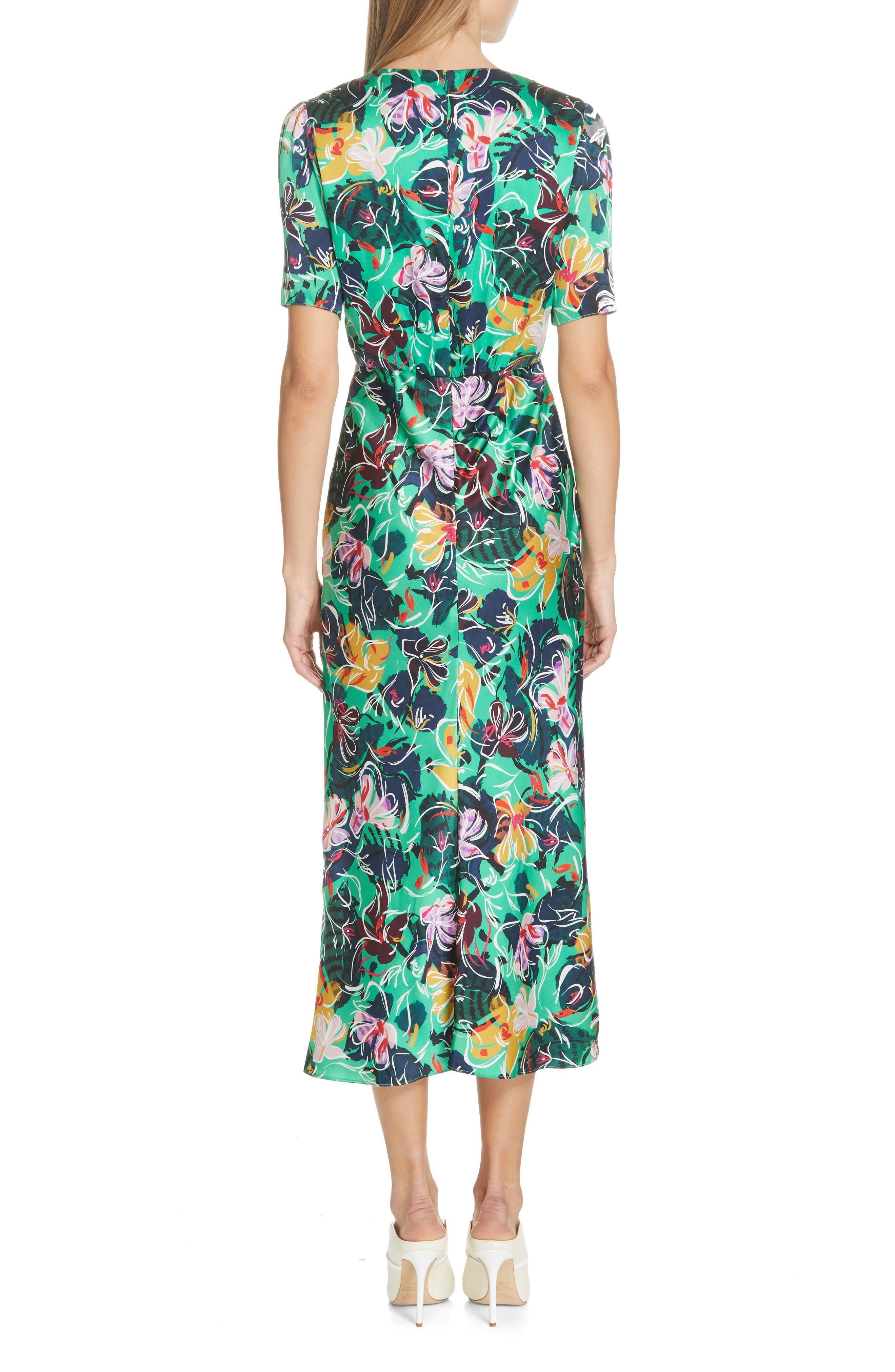 SALONI, Eden Floral Print Silk Midi Dress, Alternate thumbnail 2, color, EMERALD KINGCUP