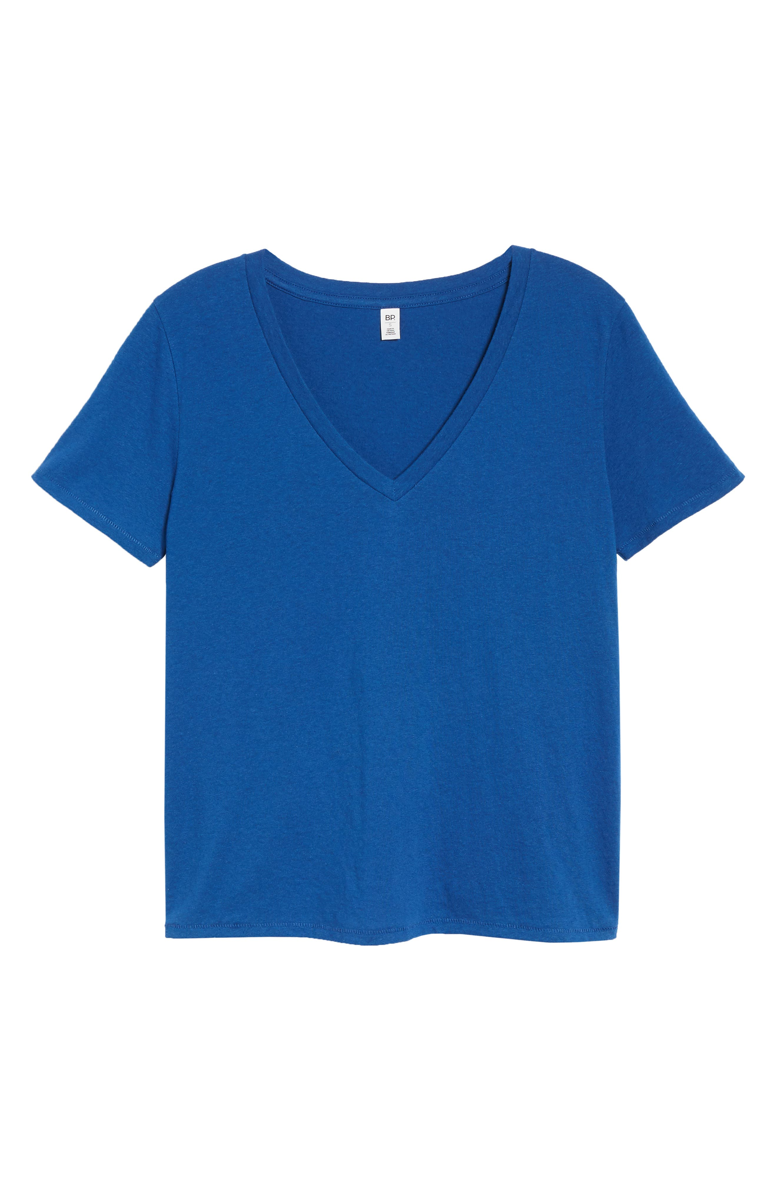 BP., V-Neck Tee, Alternate thumbnail 6, color, BLUE MONACO