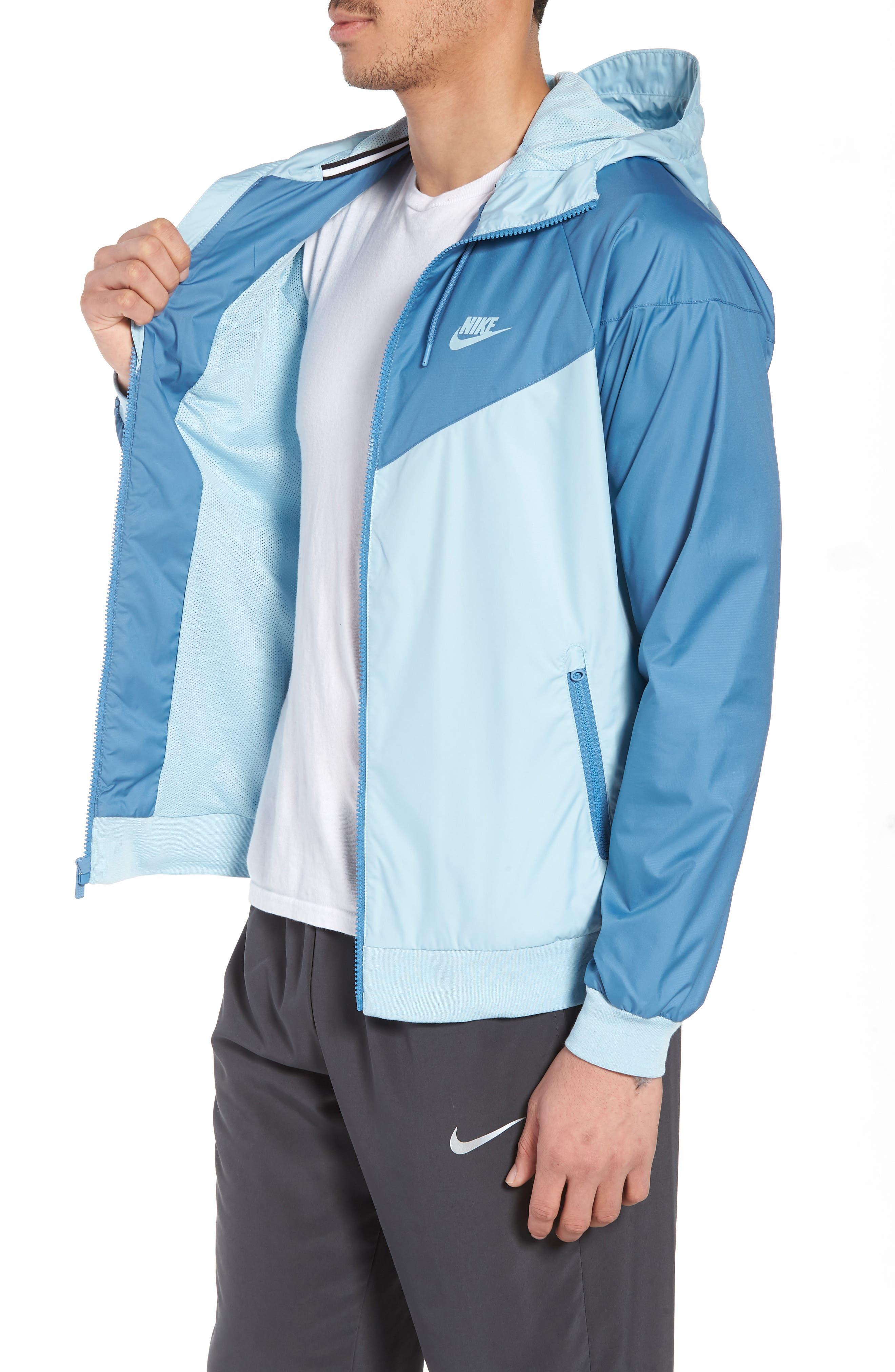 NIKE, Windrunner Colorblock Jacket, Alternate thumbnail 4, color, OCEAN BLISS/ AEGEAN STORM
