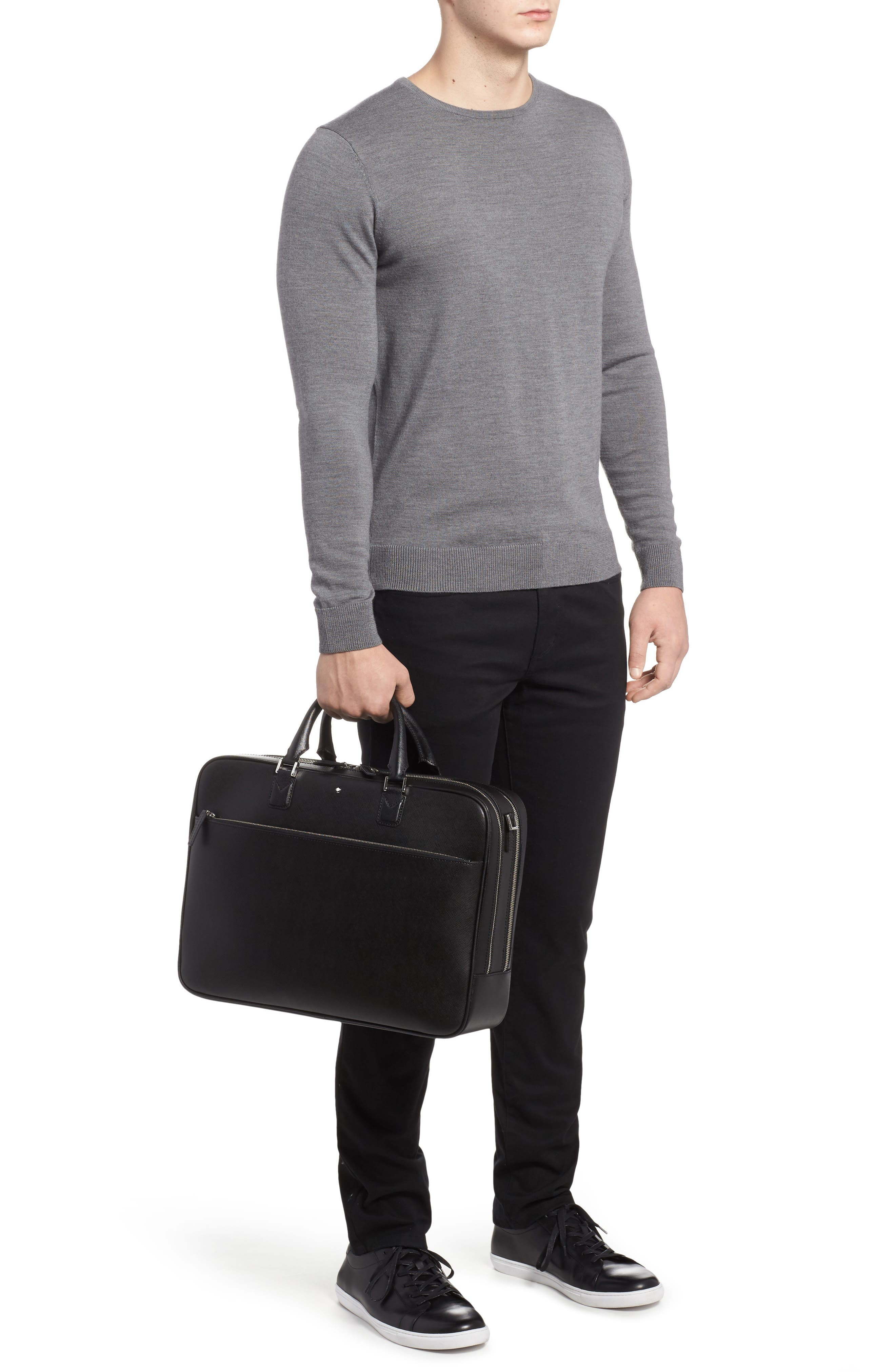 MONTBLANC, Sartorial Leather Briefcase, Alternate thumbnail 2, color, 001