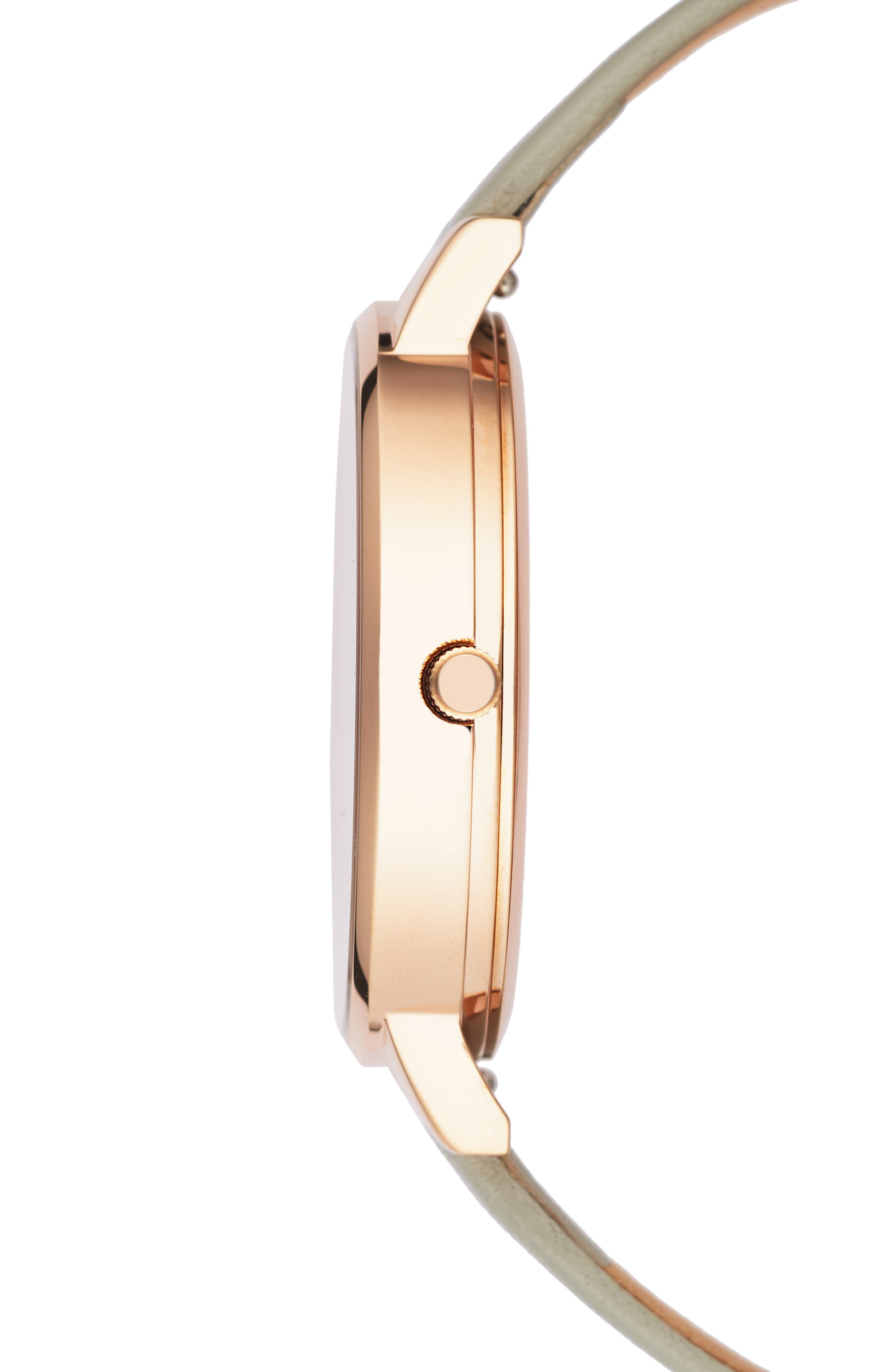 OLIVIA BURTON, Bejewelled Leather Strap Watch, 38mm, Alternate thumbnail 3, color, GREY/ FLORAL/ ROSE GOLD