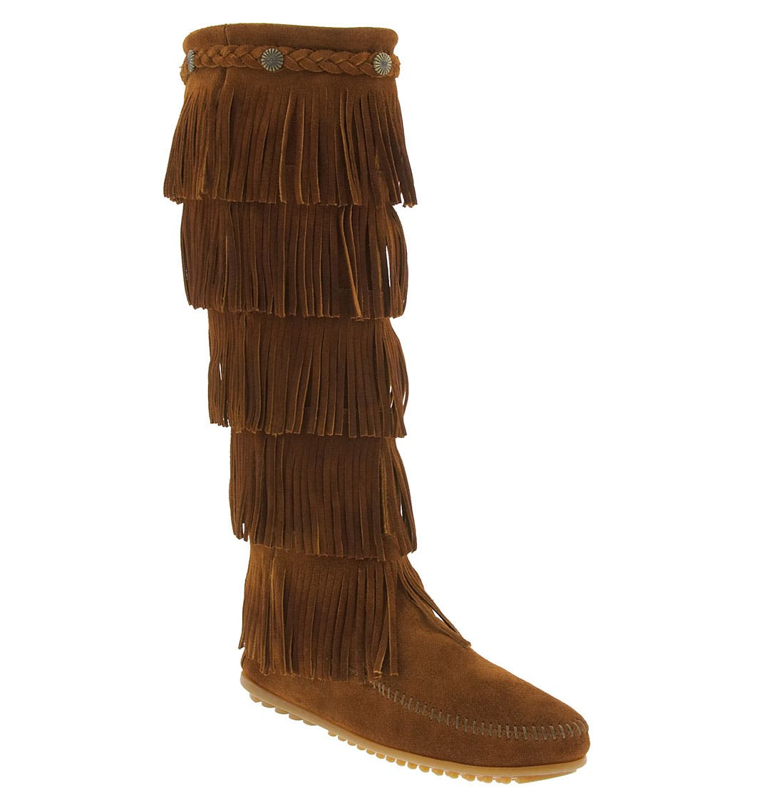 MINNETONKA, '5 Layer Fringe' Boot, Main thumbnail 1, color, BROWN
