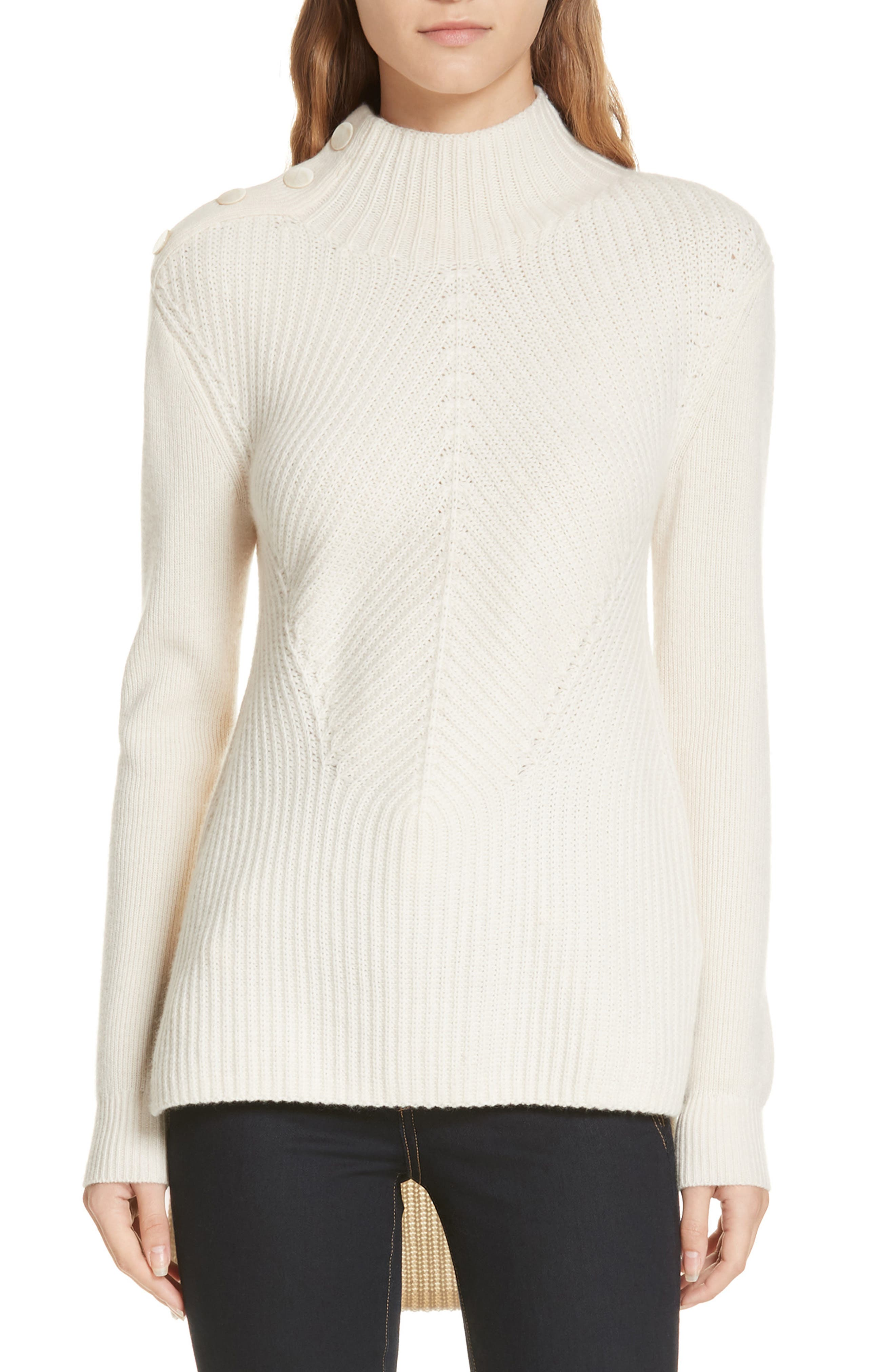 Veronica Beard Rama Merino Wool & Cashmere High/low Sweater, Ivory