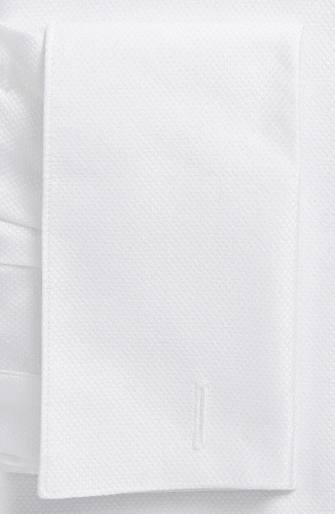 DAVID DONAHUE, Trim Fit French Cuff Tuxedo Shirt, Alternate thumbnail 3, color, WHITE