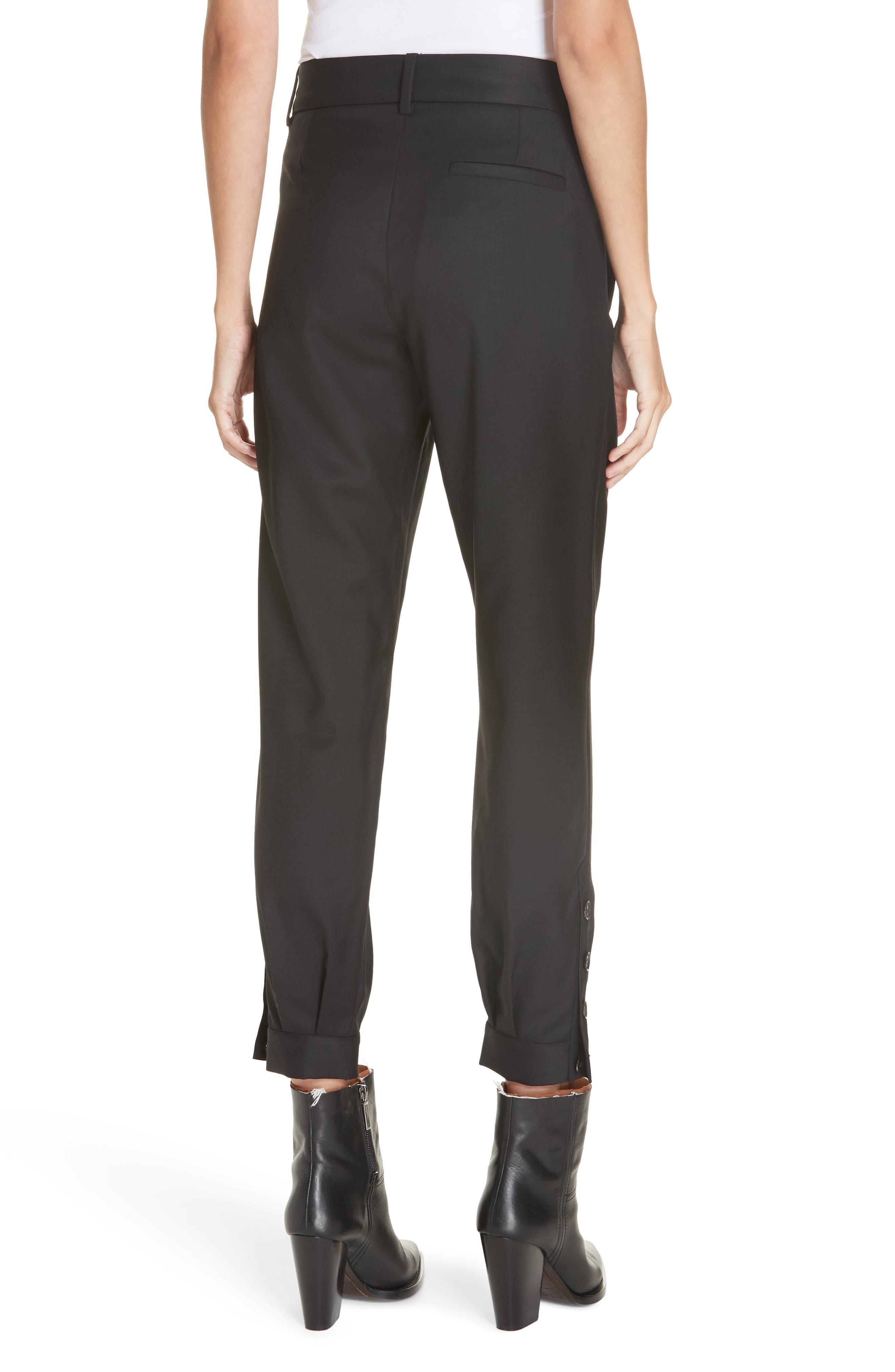 NILI LOTAN, Bertina Pleated Wool Crop Pants, Alternate thumbnail 2, color, BLACK