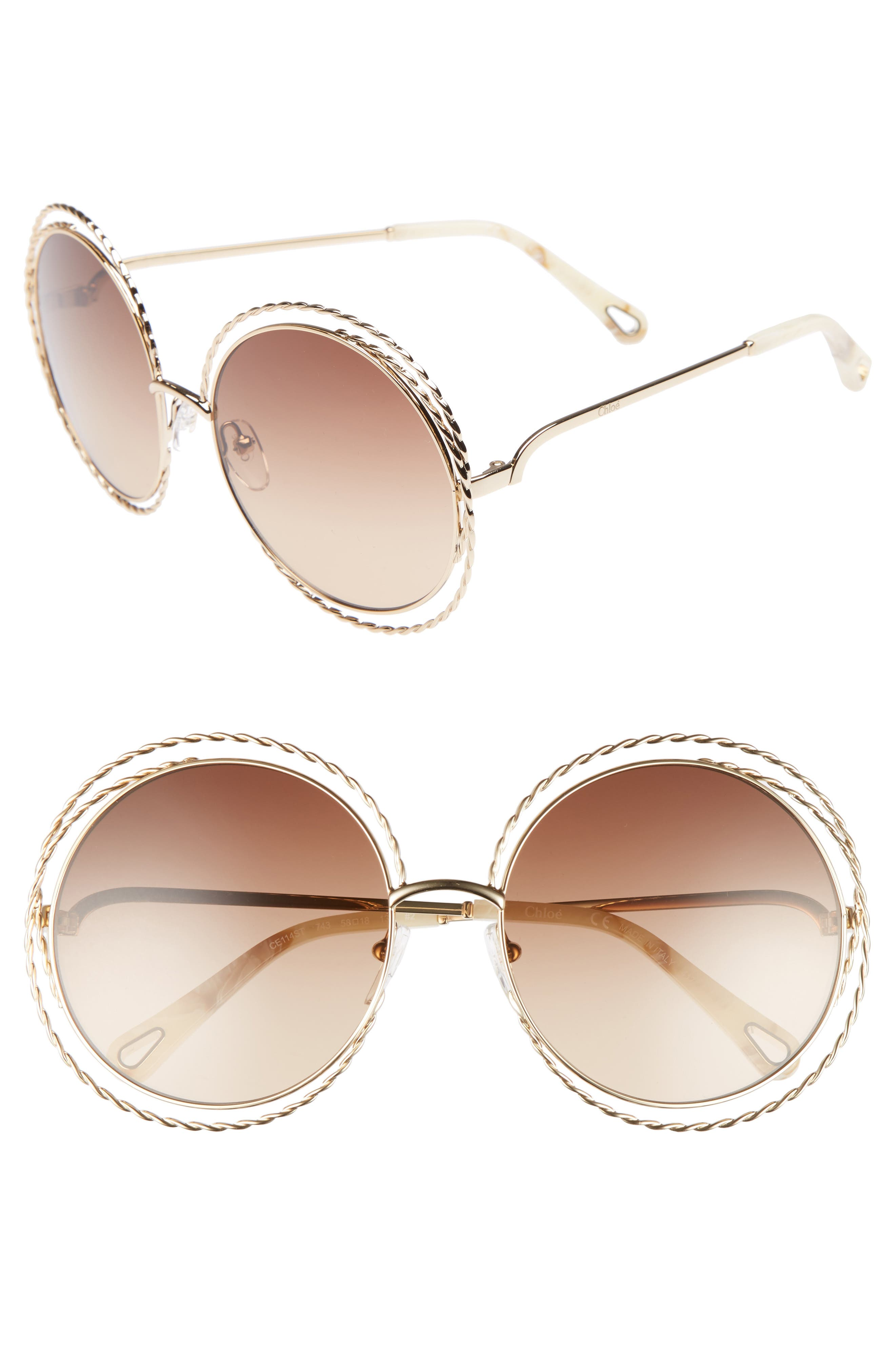 CHLOÉ Carlina Torsade 58mm Round Sunglasses, Main, color, GOLD/ BROWN