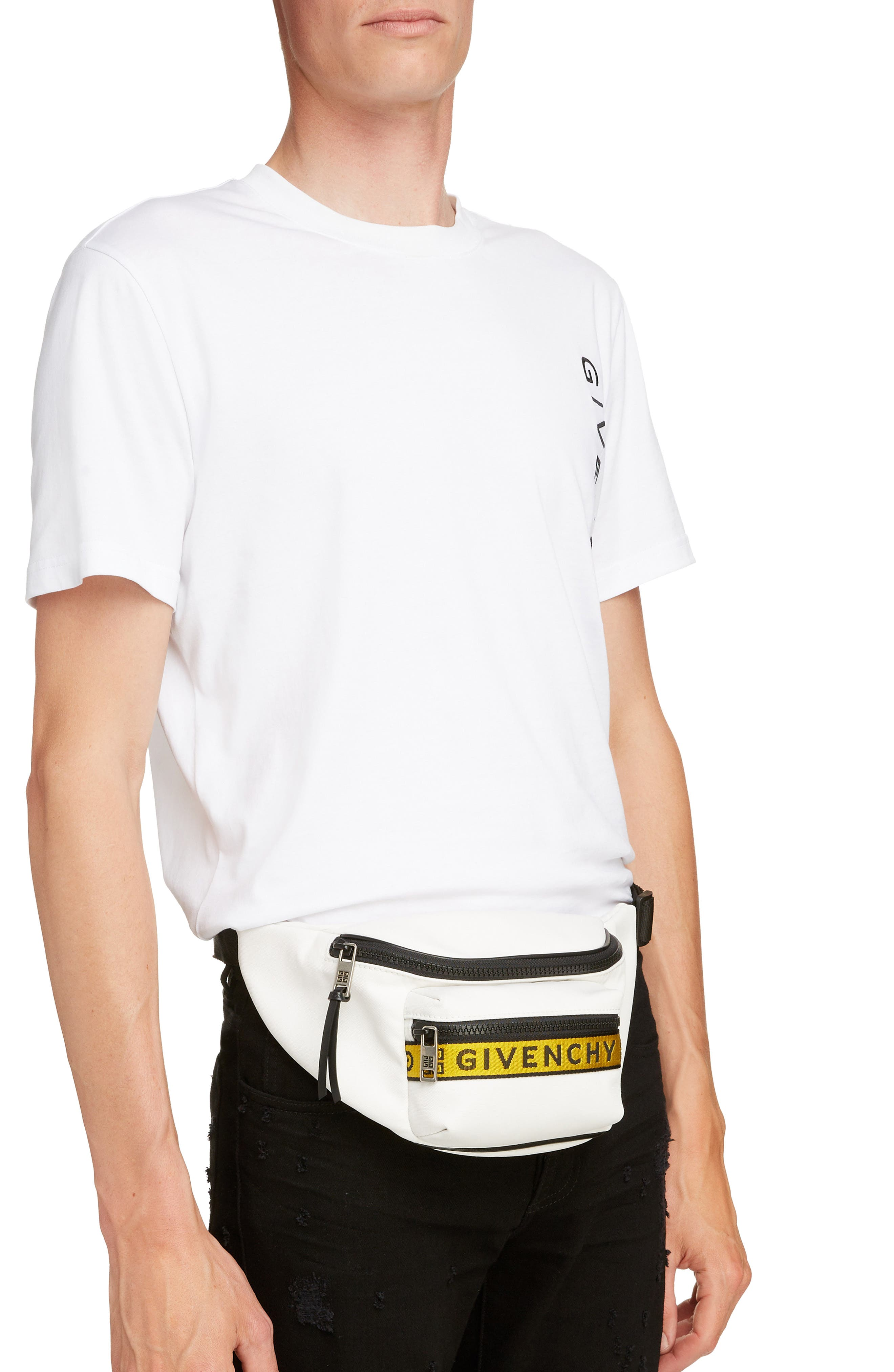 GIVENCHY, Logo Hip Pack, Alternate thumbnail 2, color, WHITE/ YELLOW