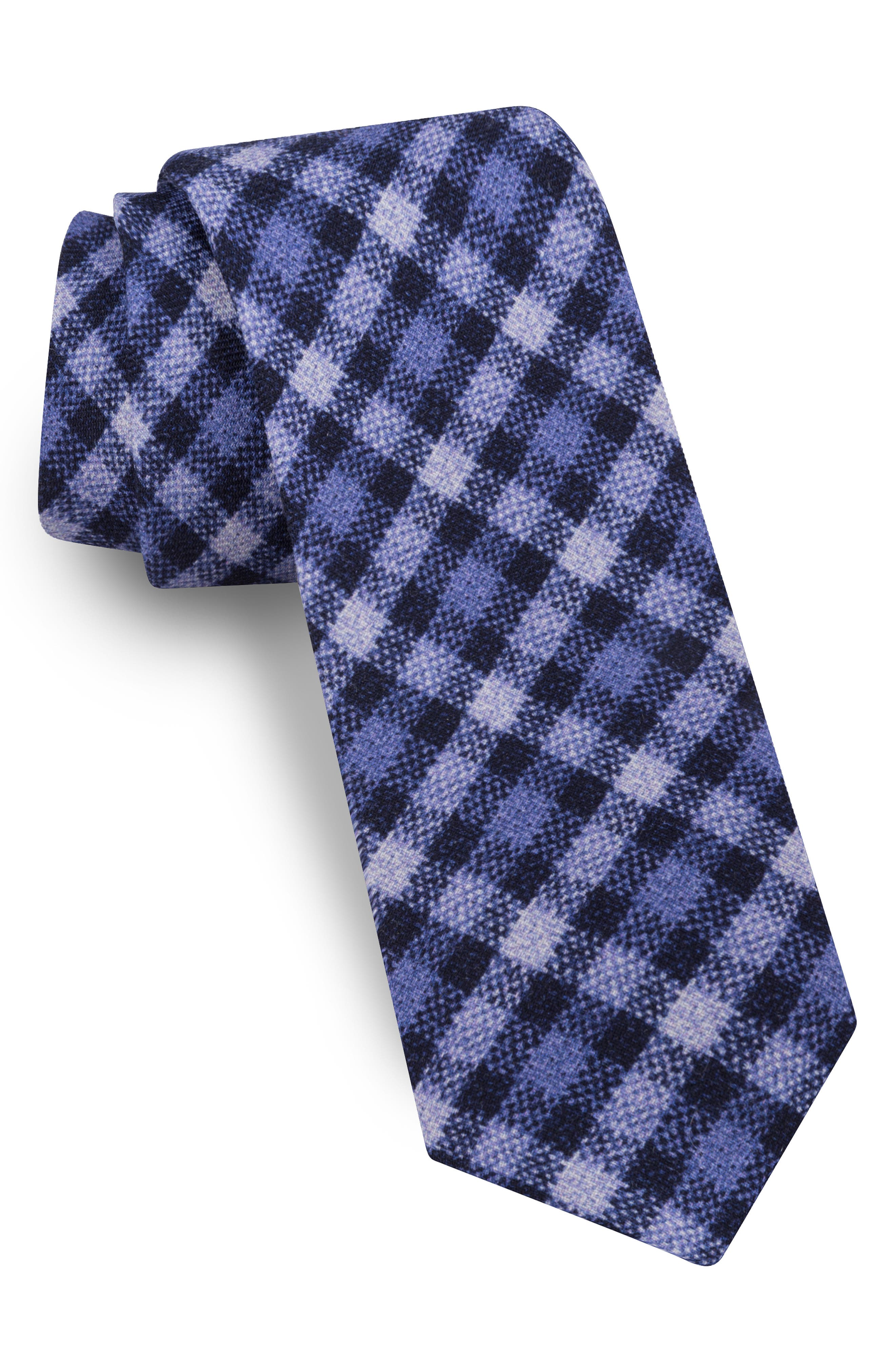 TED BAKER LONDON, Plaid Wool Tie, Main thumbnail 1, color, NAVY