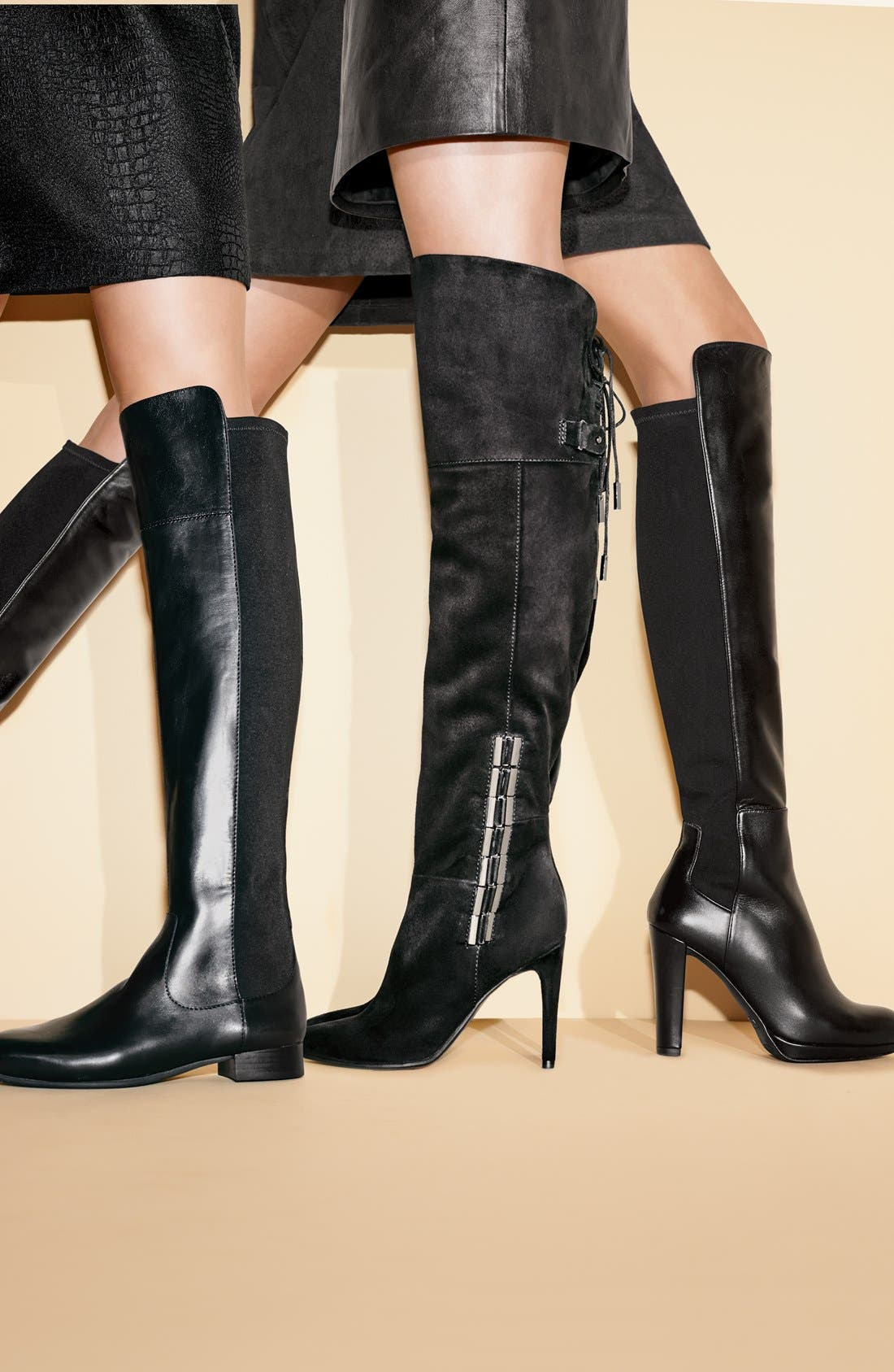 DOLCE VITA, 'Inara' Over the Knee Pointy Toe Suede Boot, Alternate thumbnail 7, color, 001