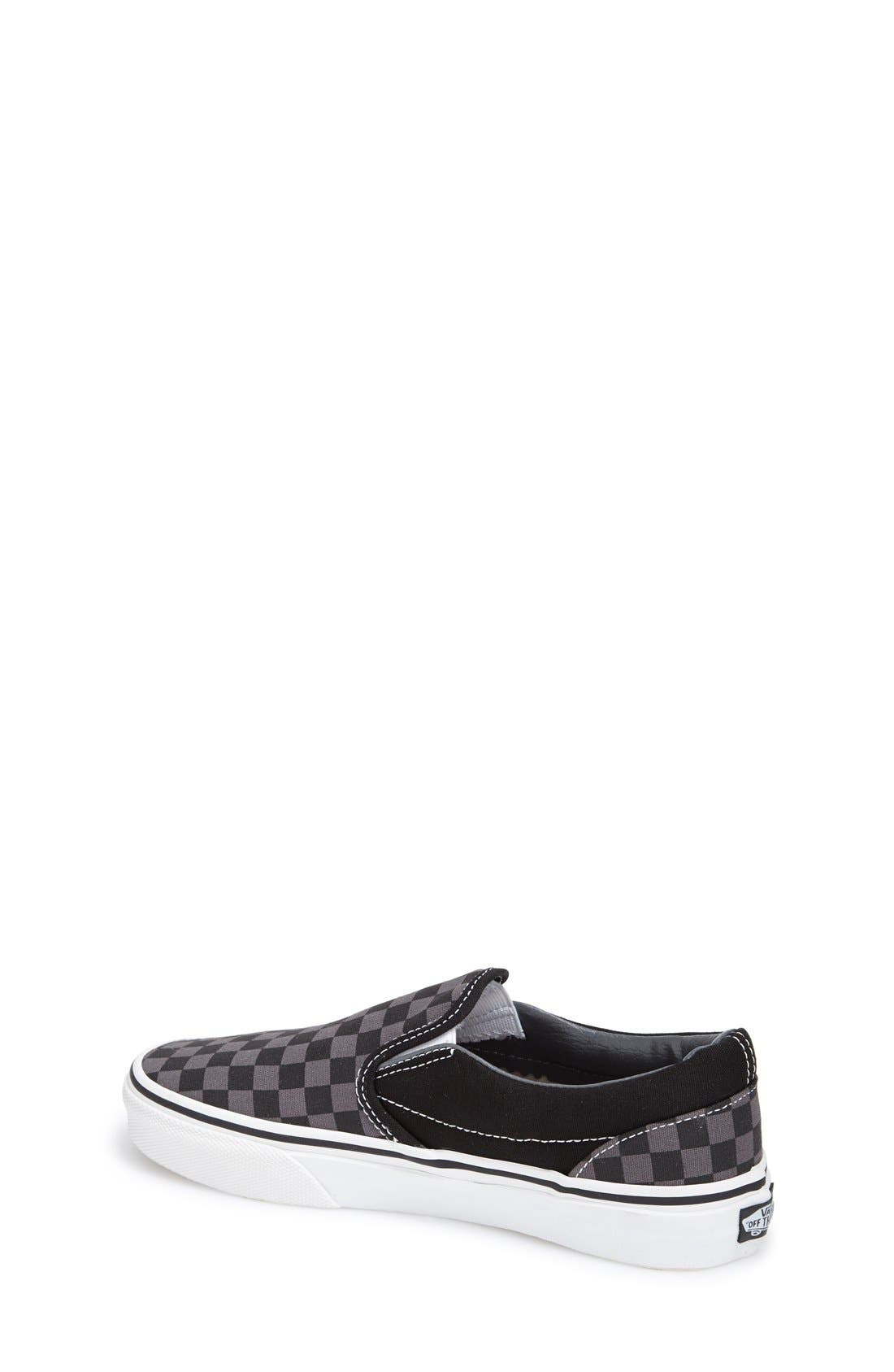 VANS, Classic Checker Slip-On, Alternate thumbnail 2, color, CHECKERBOARD/ BLACK/ PEWTER