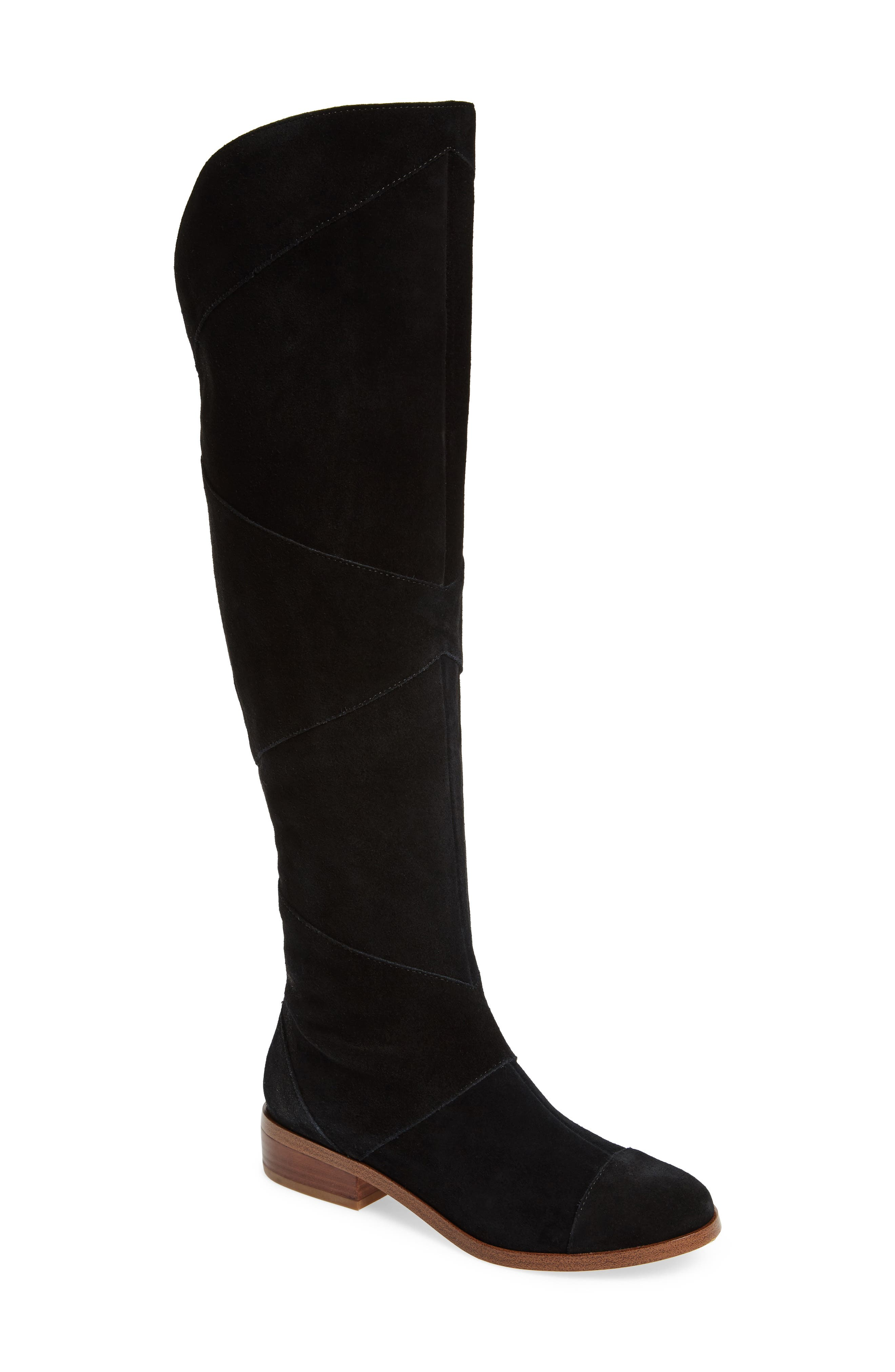 SOLE SOCIETY, Tiff Over the Knee Boot, Main thumbnail 1, color, BLACK