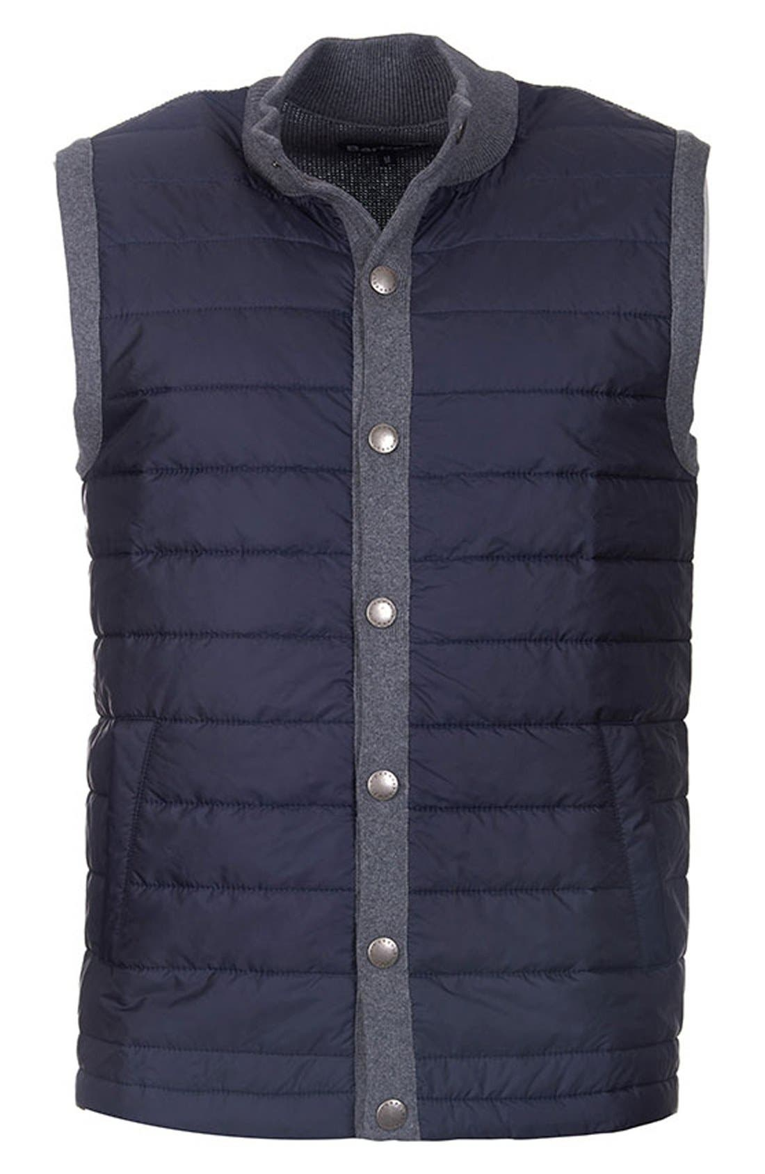 BARBOUR, 'Essential' Tailored Fit Mixed Media Vest, Alternate thumbnail 9, color, MID GREY
